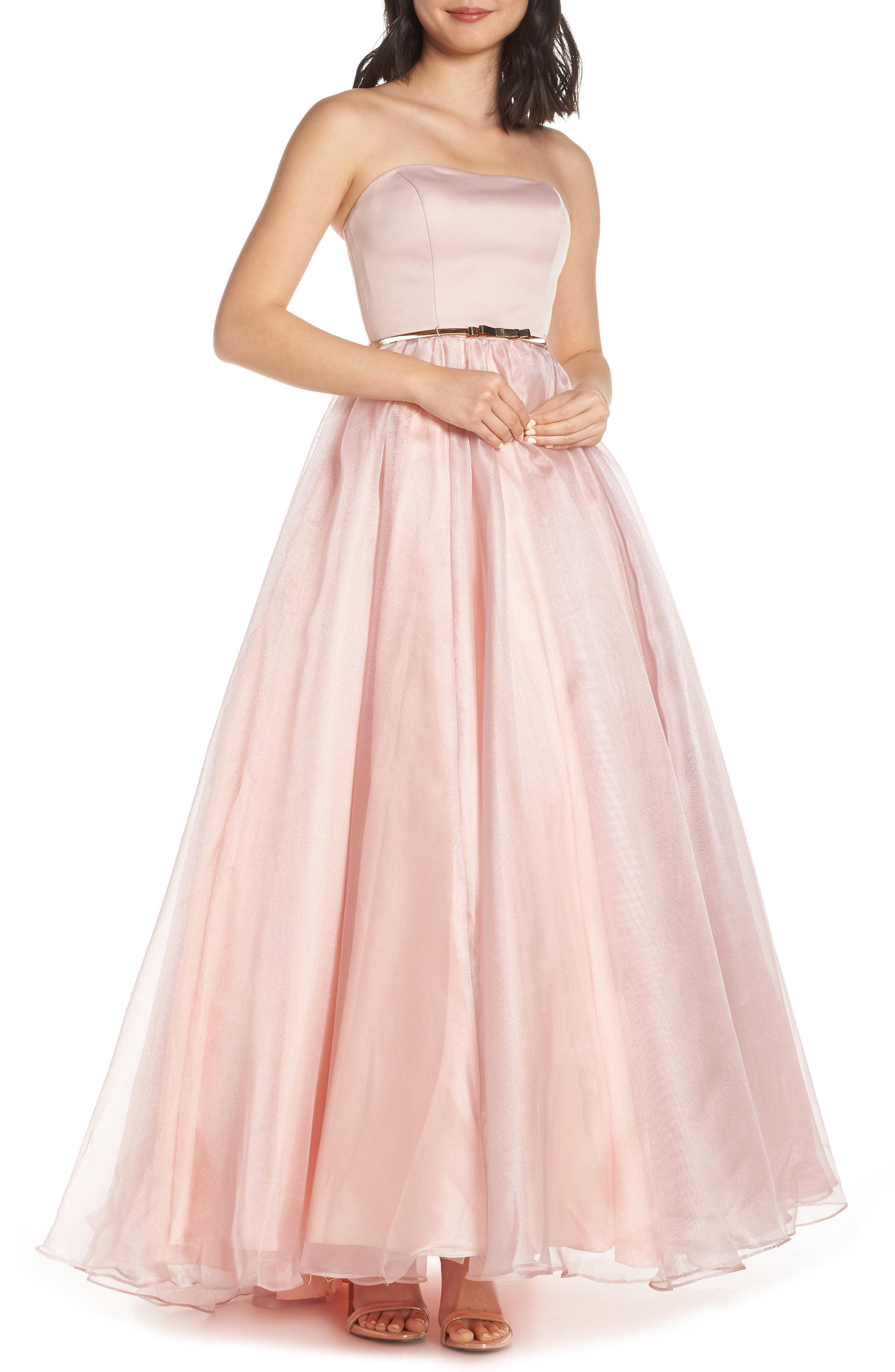 74b3a8b5f50 Lyst - Mac Duggal Strapless Belted Evening Dress in Pink