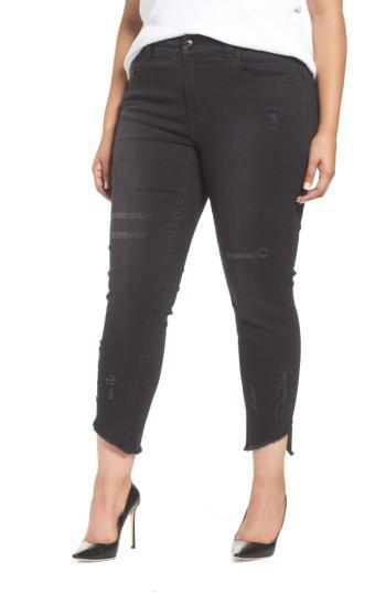 b3c595ba960e1 Lyst - Seven7 Distressed Slant Raw Hem Skinny Jeans