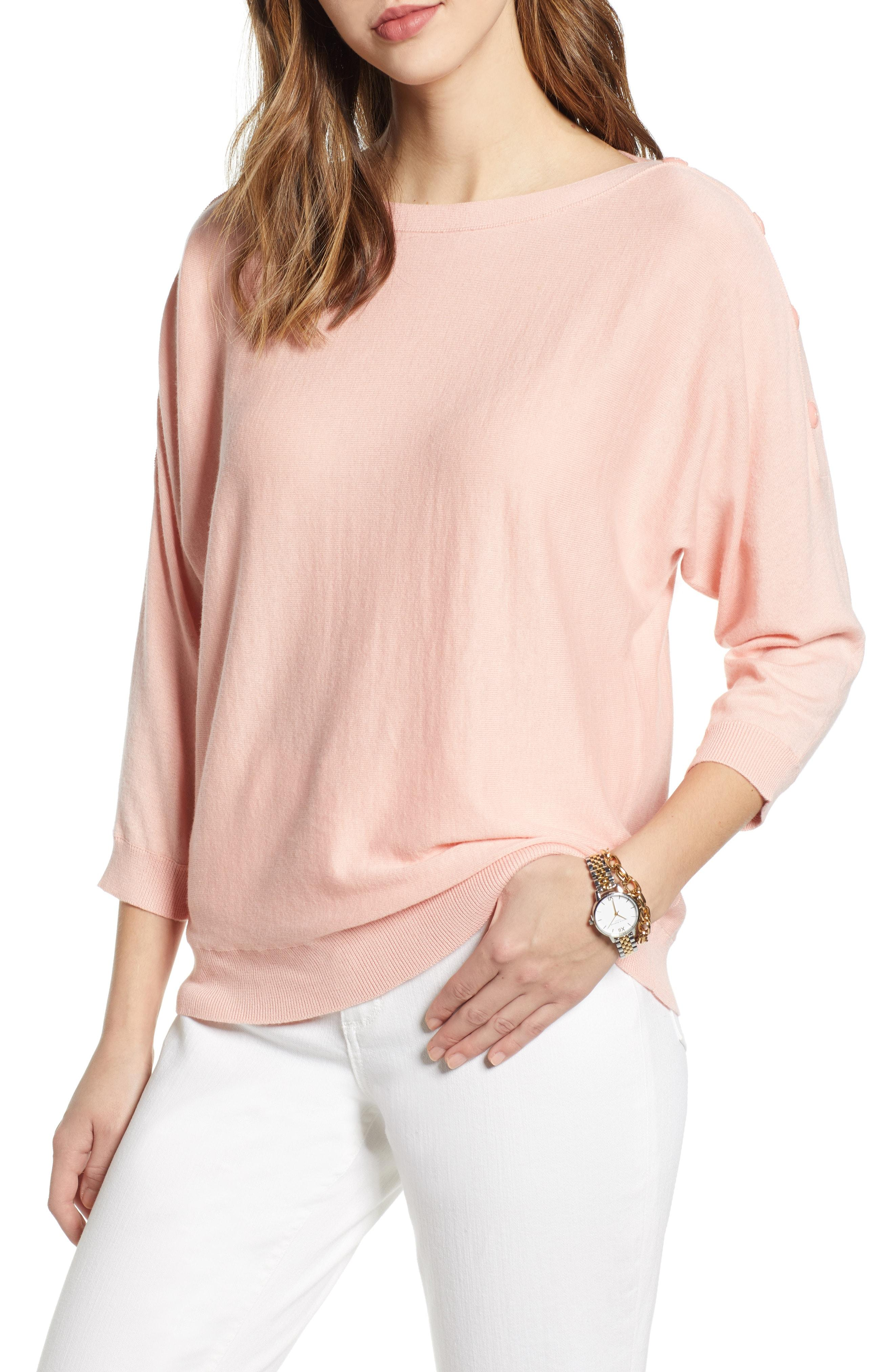 03854e2ba7 Lyst - Nordstrom 1901 Shoulder Button Detail Sweater in Pink