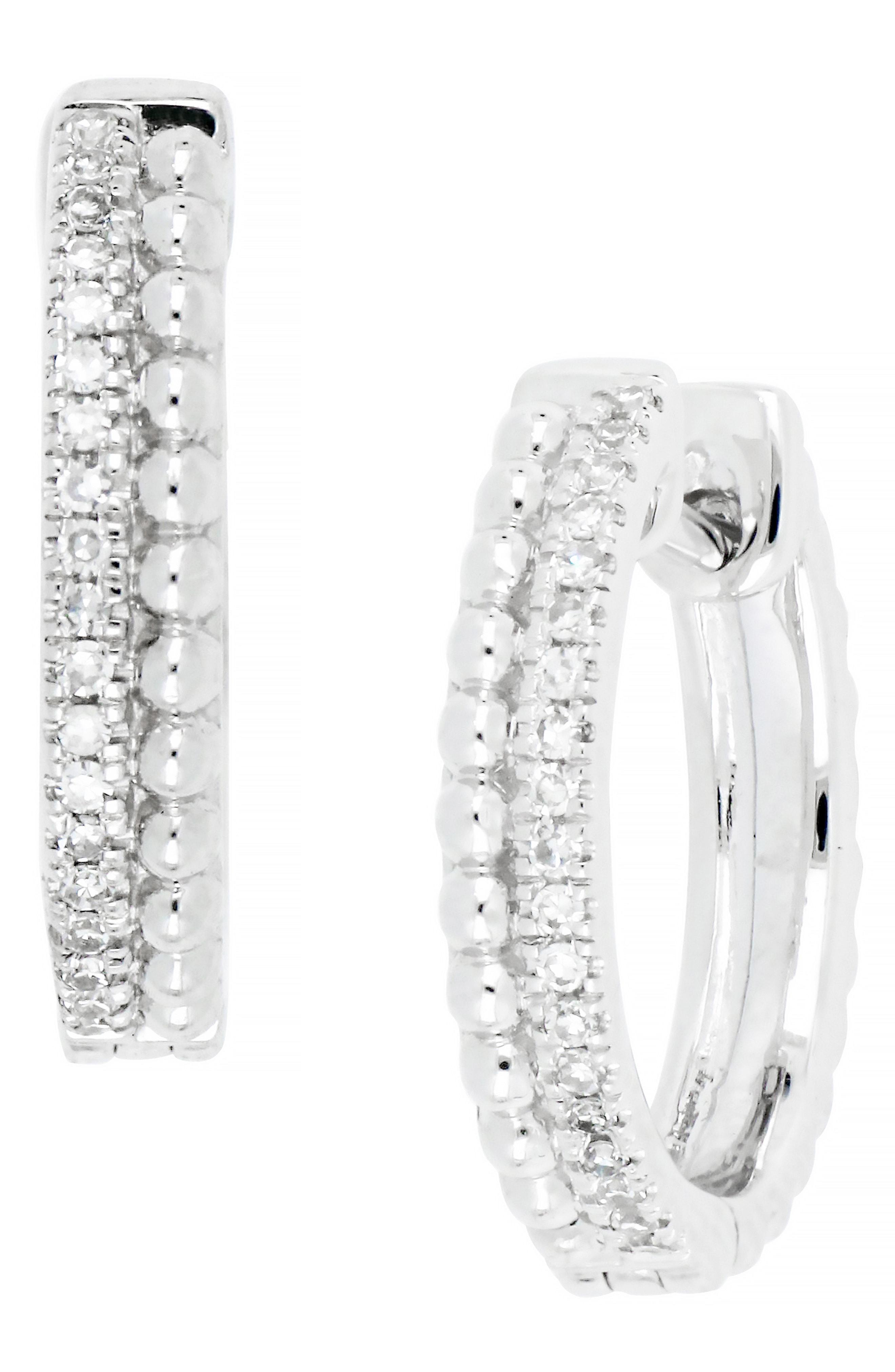 849259e32 CARRIERE JEWELRY. Women's Metallic Carriere Small Diamond Hoop Earrings ...