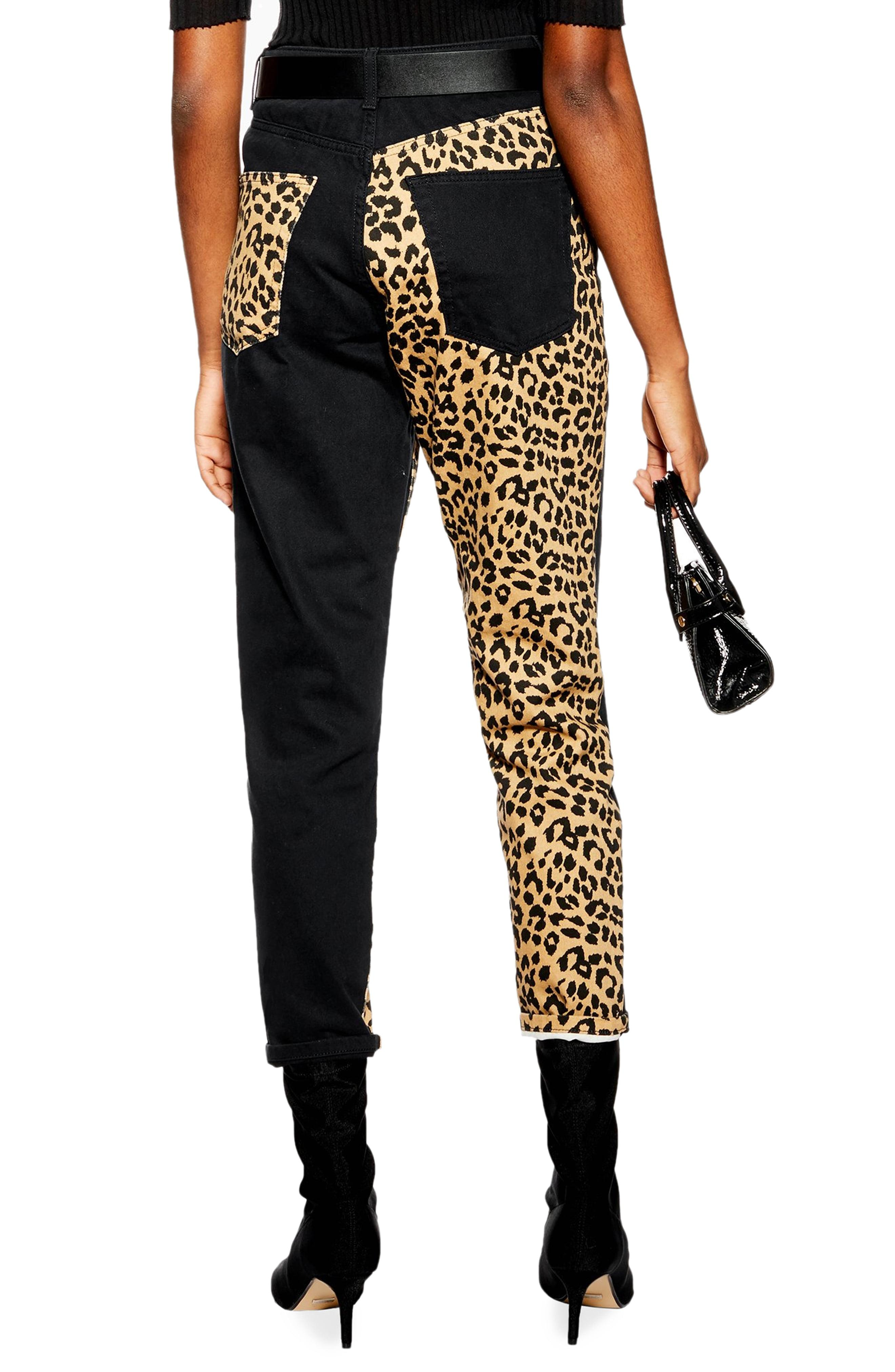 5a9a197f19a7 TOPSHOP Leopard Panel Mom Jeans - Lyst