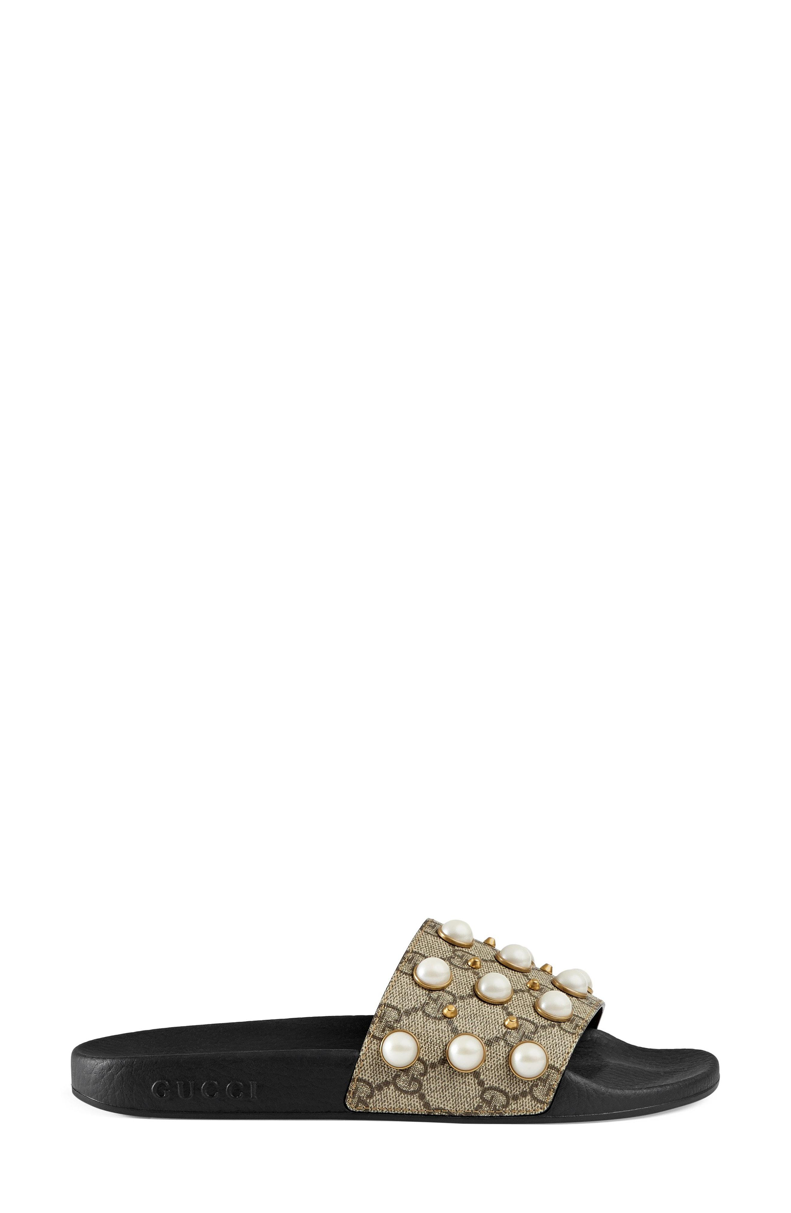 6228e3495fb Gucci - Natural Pursuit Imitation Pearl Embellished Slide Sandal - Lyst.  View fullscreen