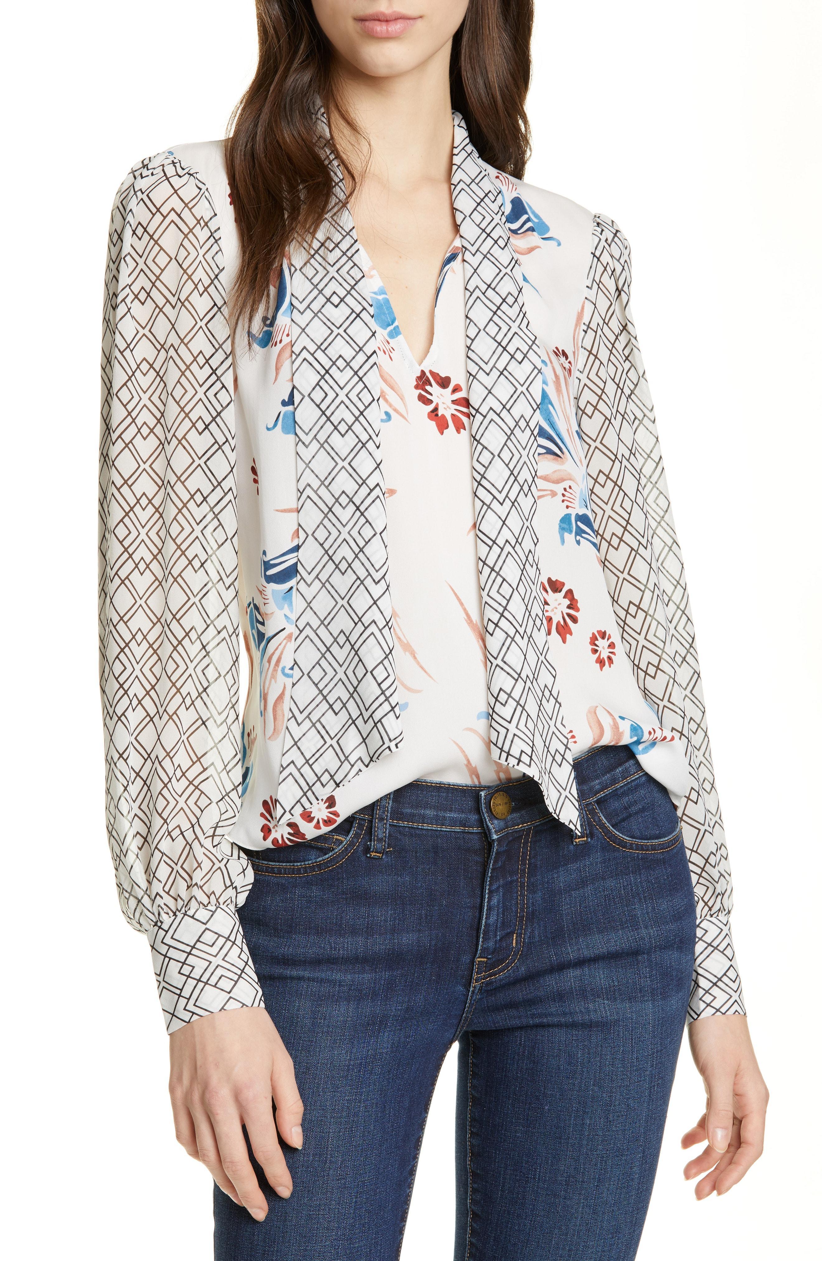 1469ef138e33d Joie. Women s Kanela Mixed Print Tie Neck Silk Blouse