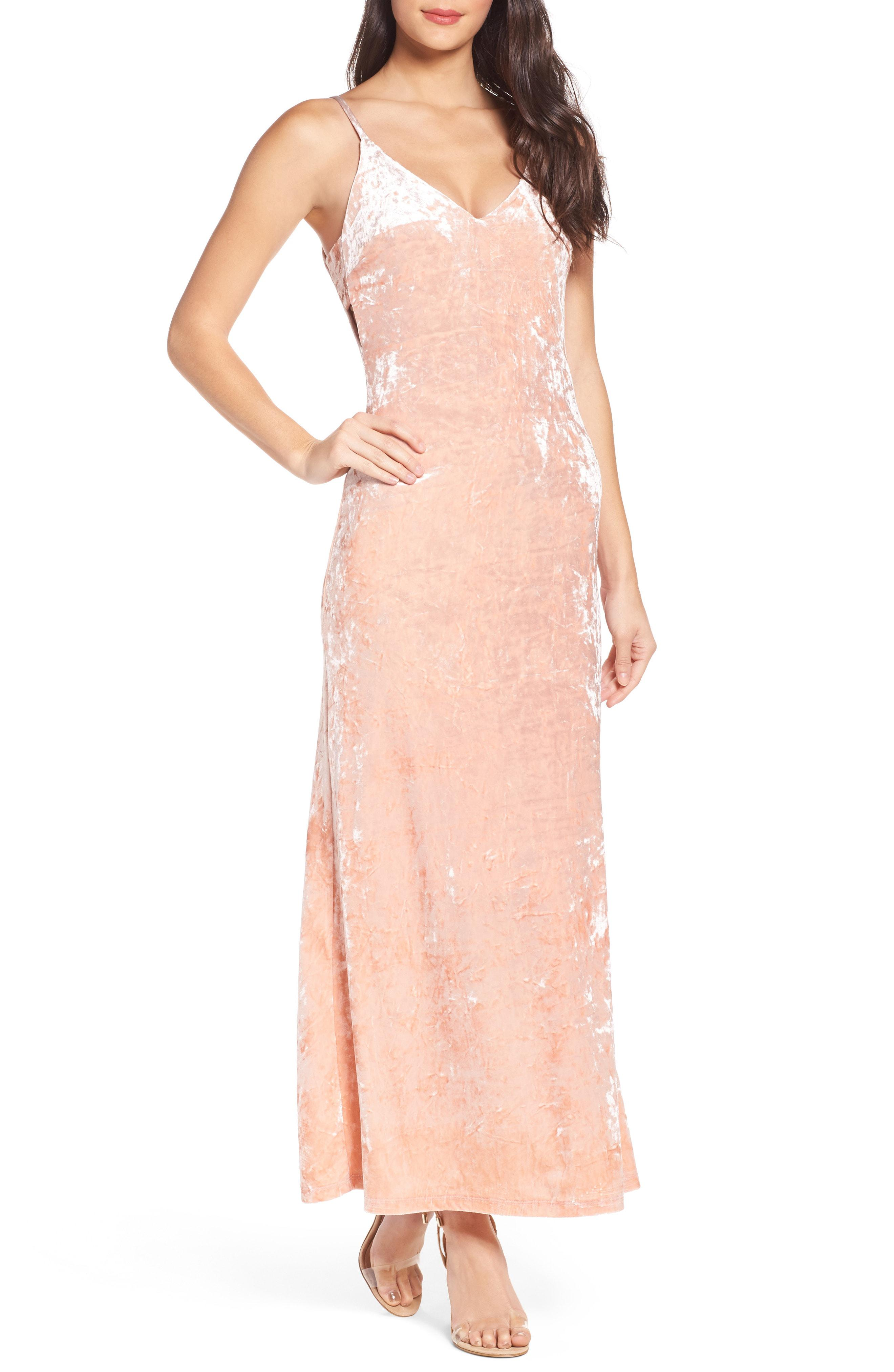 3ac041c346b5 Lyst - Fraiche By J Velvet Slipdress in Pink