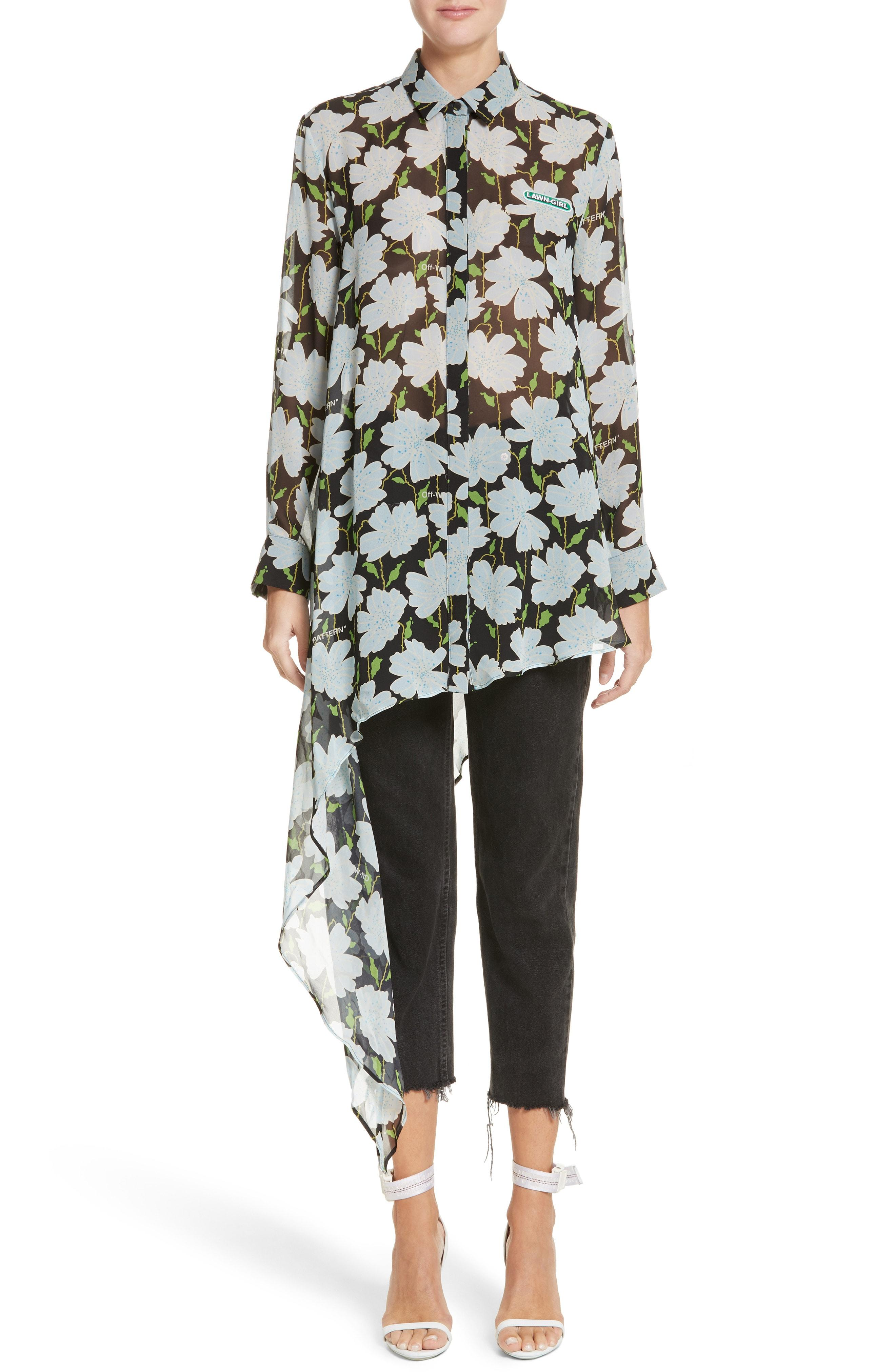 65005f4dd175 Lyst - Off-White c o Virgil Abloh Floral Asymmetrical Silk Shirt in ...