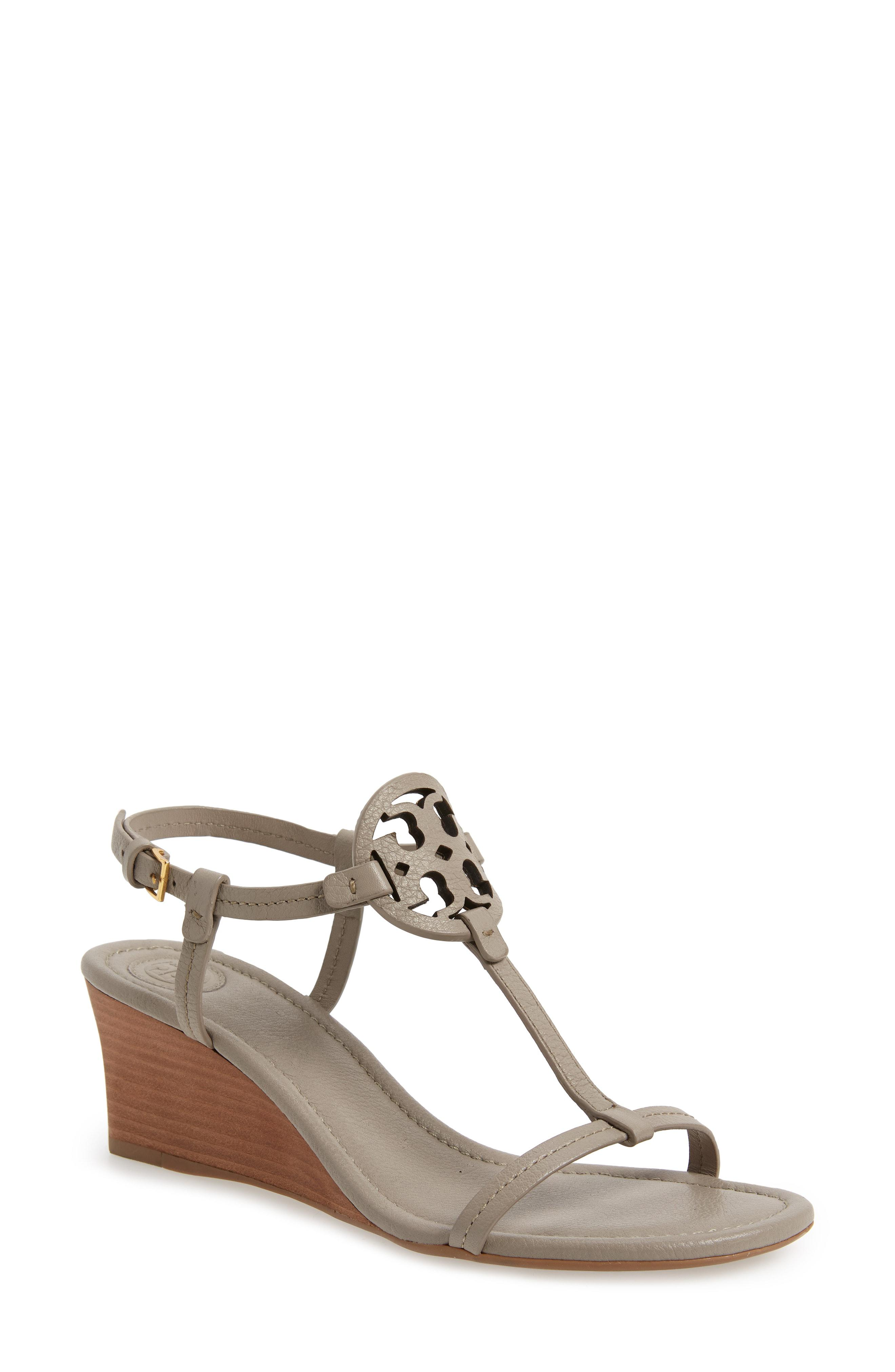 78bf4e99a90 Lyst - Tory Burch Miller Wedge Sandal in Gray