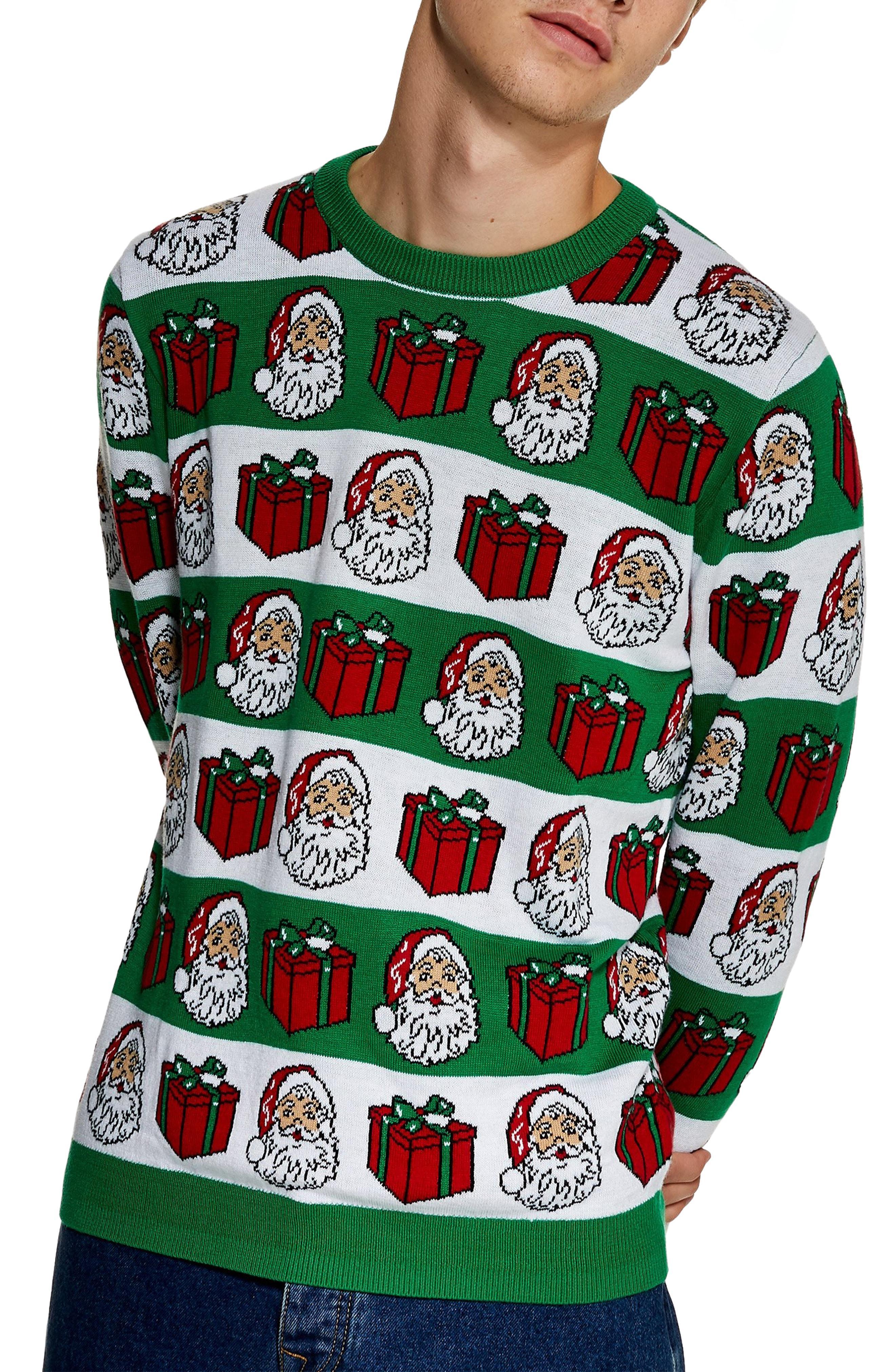 Lyst - Topman Christmas Santa Crewneck Sweater in Green for Men