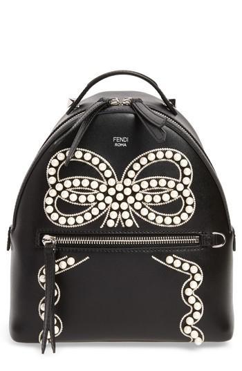 9c2986fb388b Lyst - Fendi Mini Imitation Pearl Bow Leather Backpack in Black