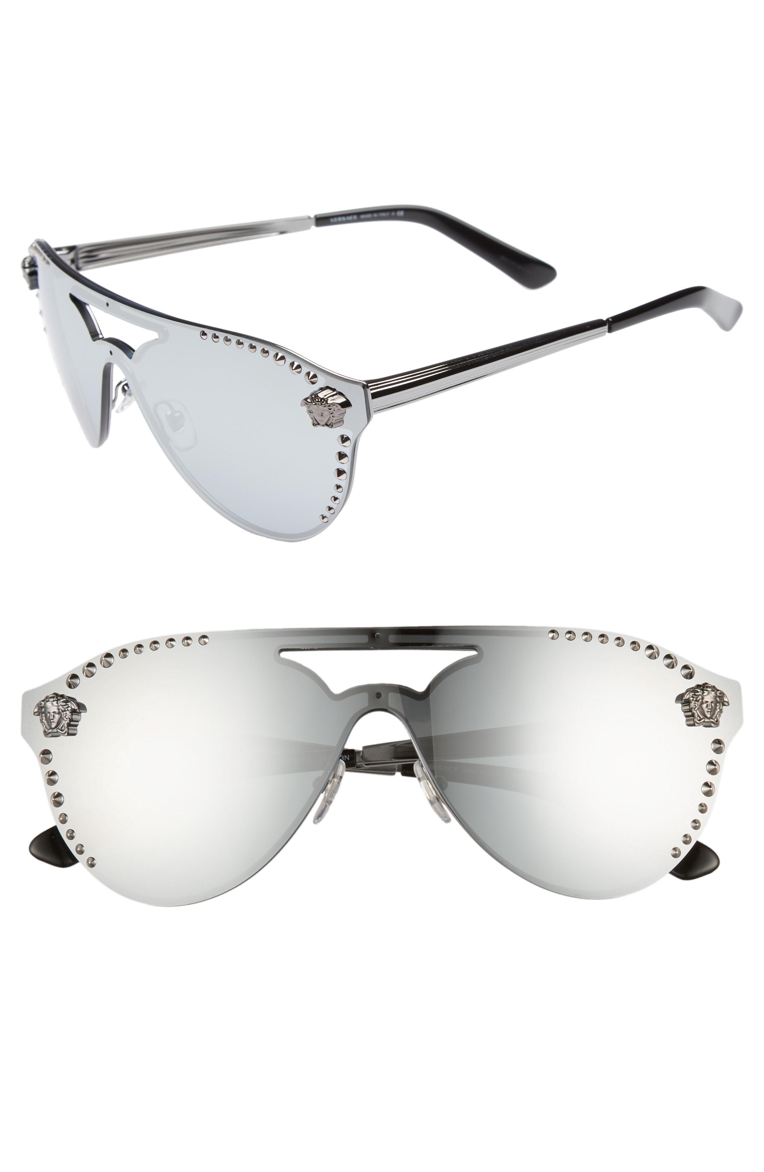 b3f4ac15e Lyst - Versace 60mm Shield Mirrored Sunglasses - Gunmetal Mirror in ...