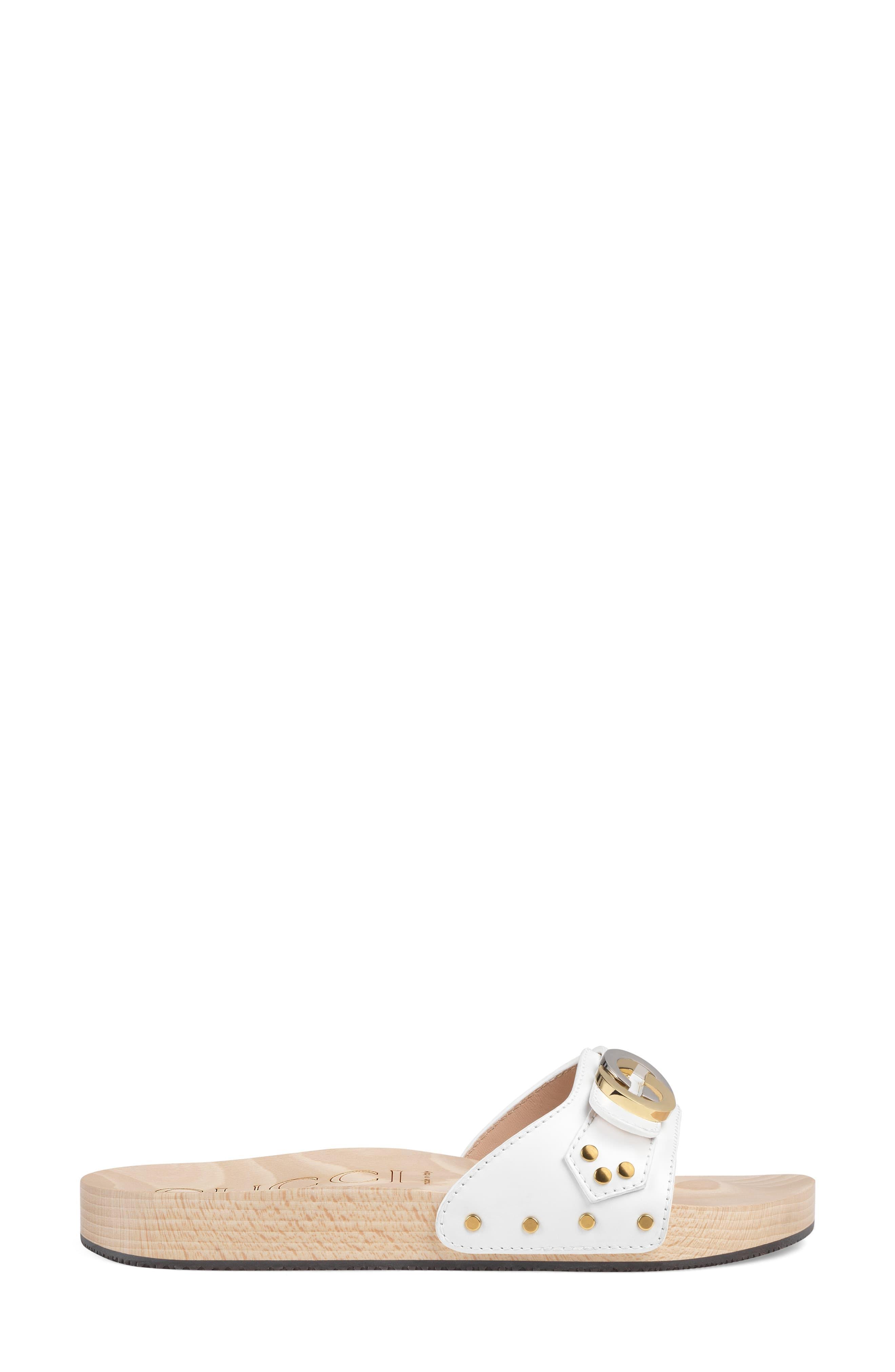 a1fbee757 Gucci - White Shiner Interlocking-g Slide Sandal - Lyst. View fullscreen