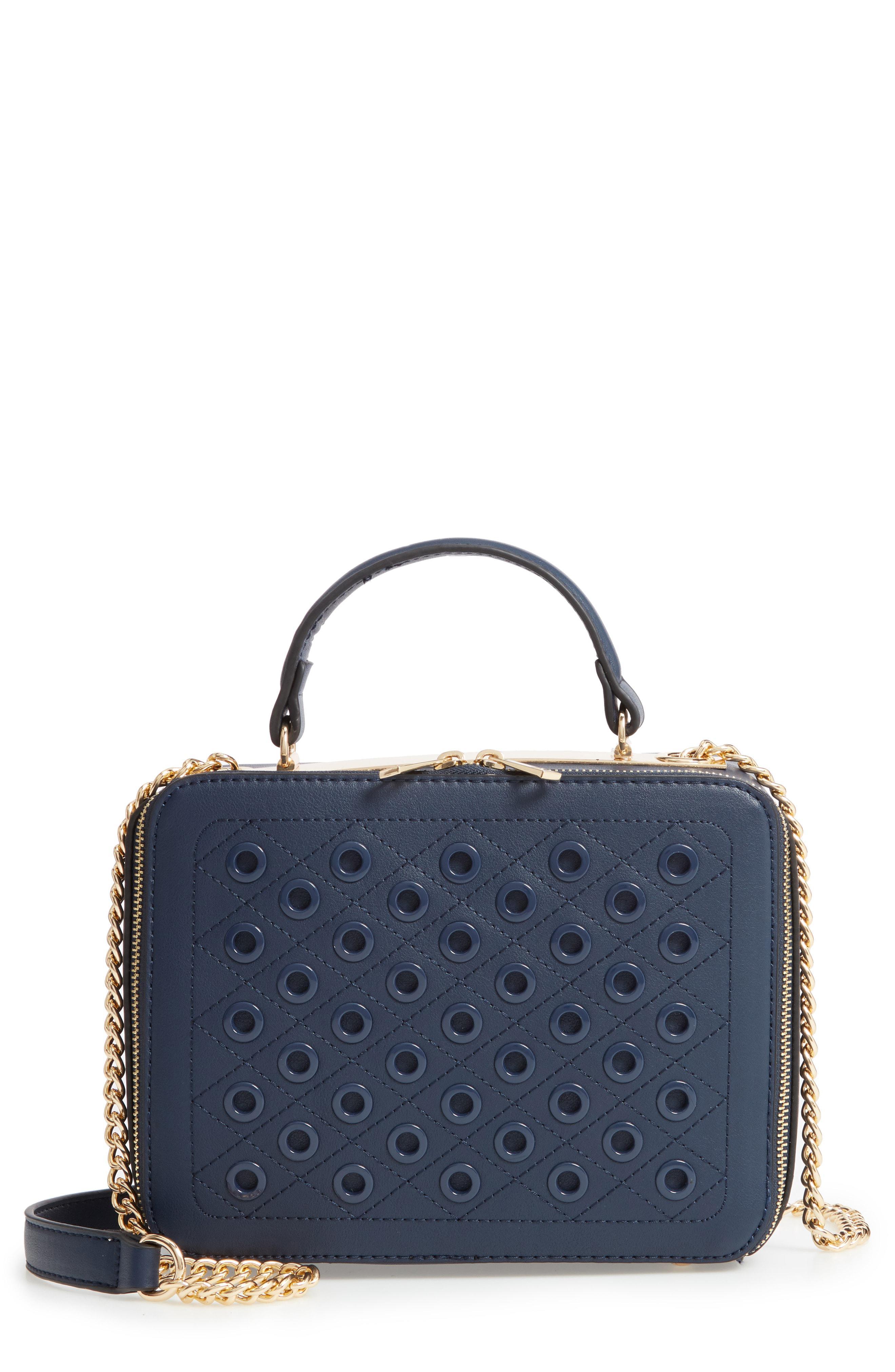 cfac73403b15 Lyst - BP. Grommet Detail Faux Leather Crossbody Bag in Blue