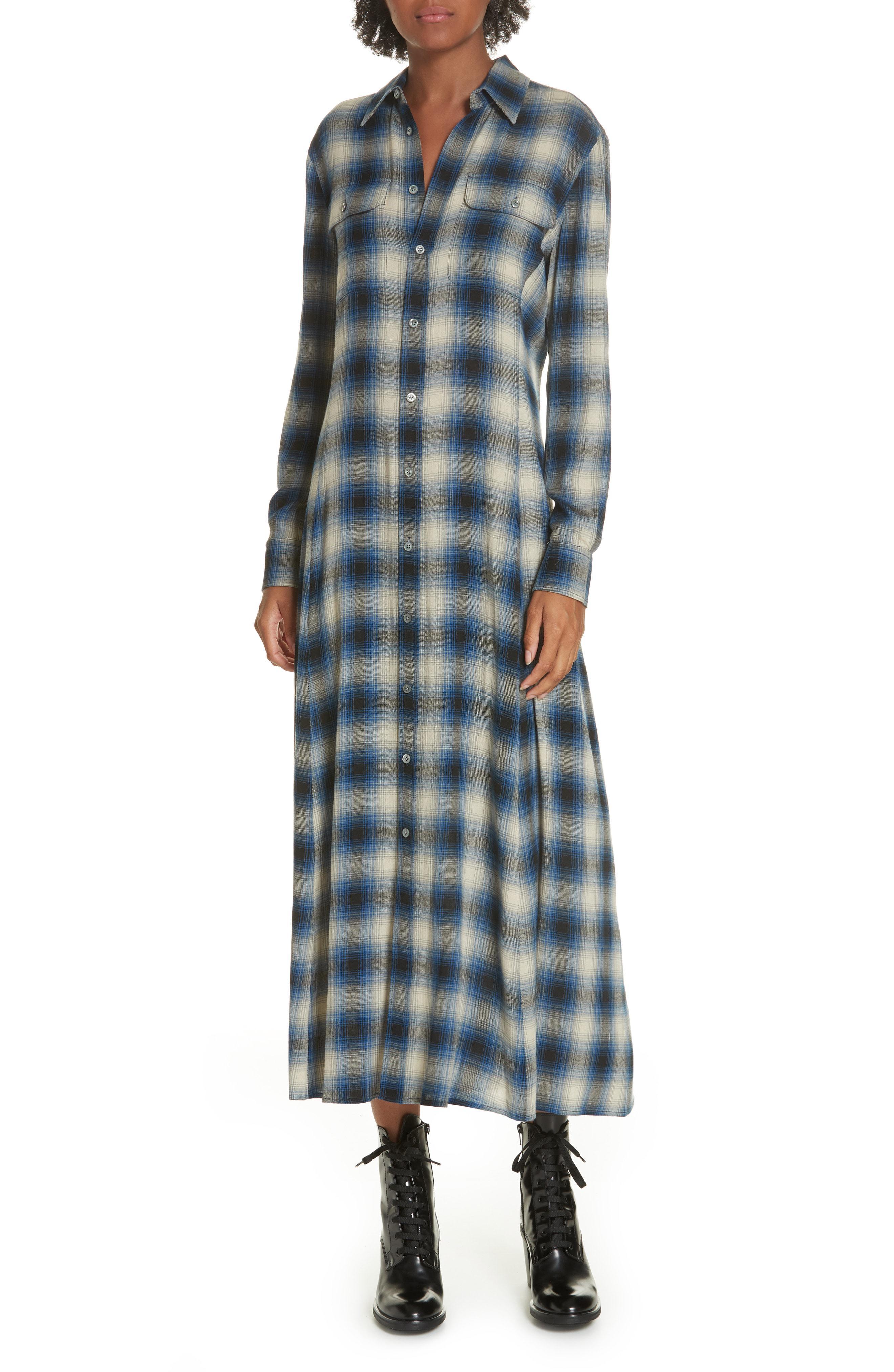 3a1b973a26 Lyst - Polo Ralph Lauren Plaid Midi Shirtdress