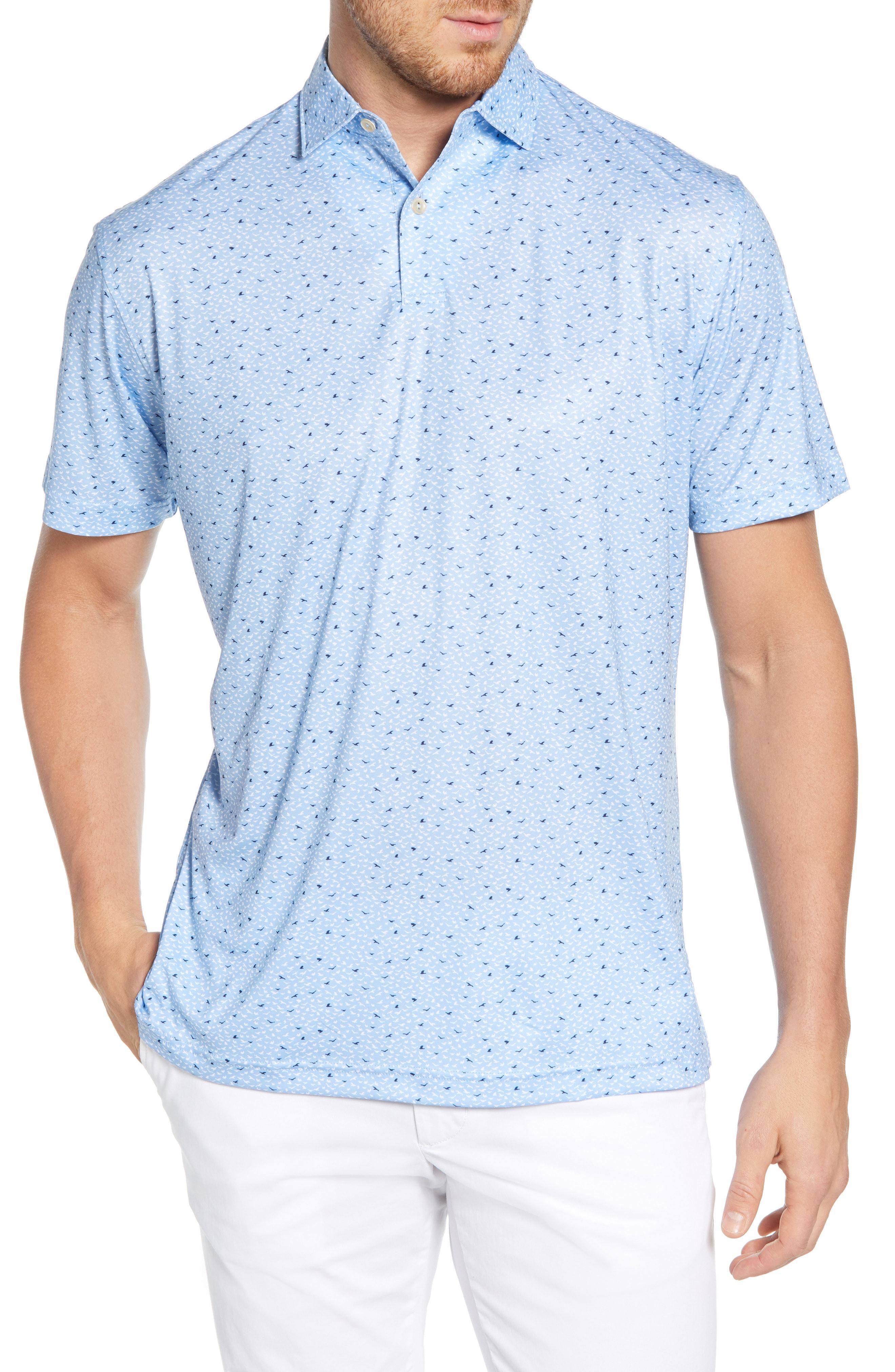 d1698832 Peter Millar. Men's Blue Regular Fit Featherweight Bird Print Jersey Polo