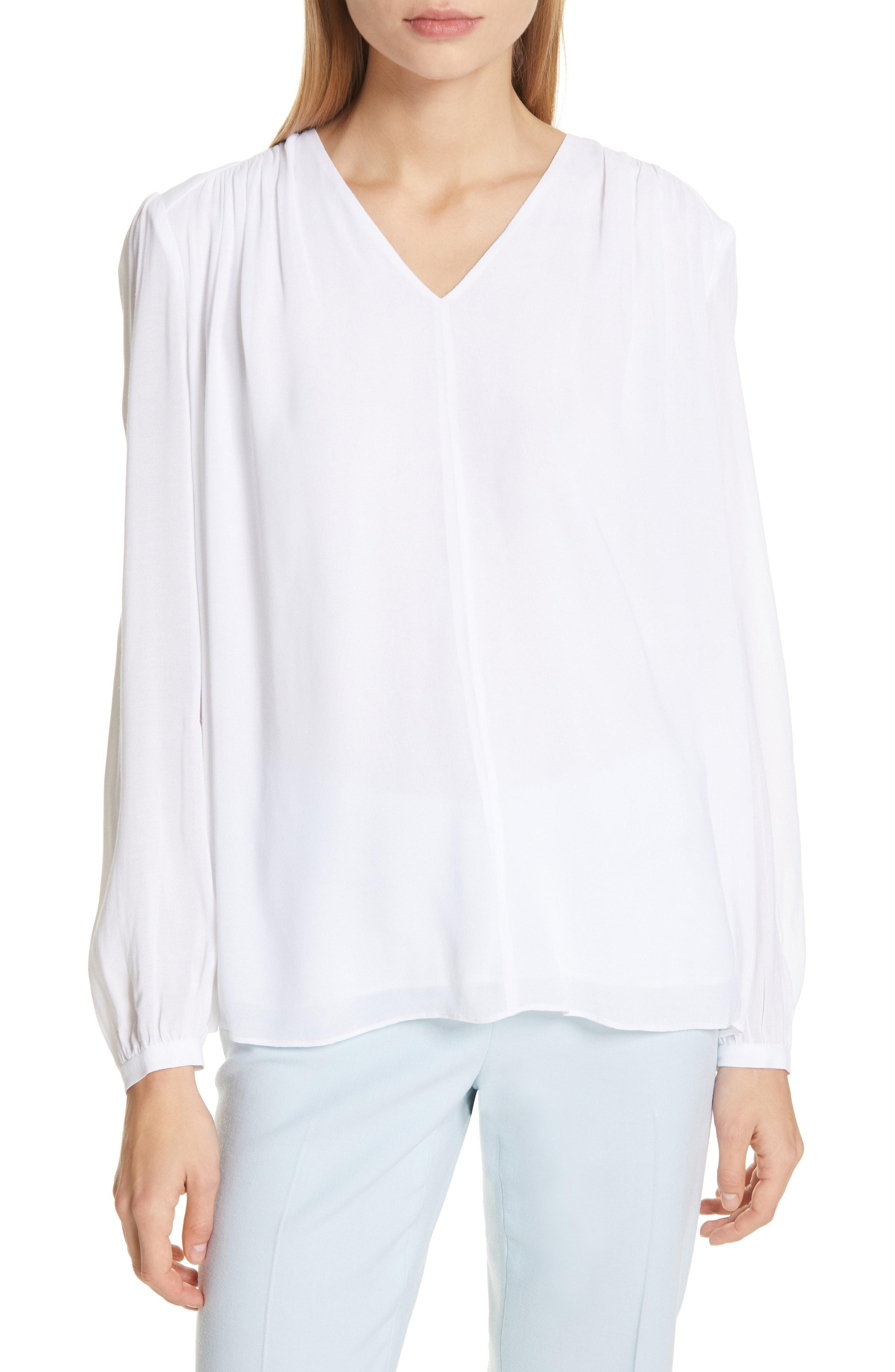7ea3197a112349 Lyst - LEWIT Shirred Blouse in White