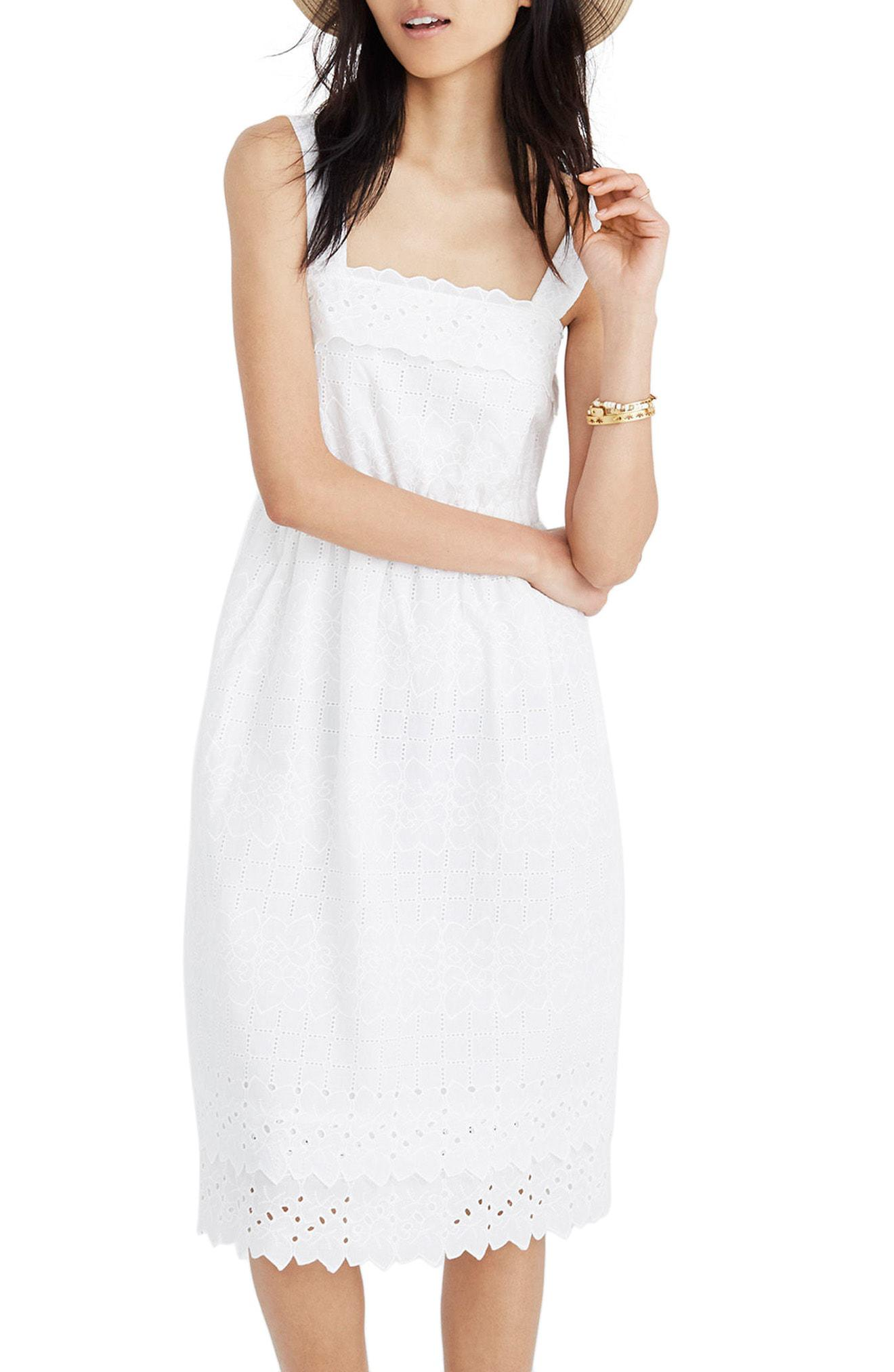 5492724f8c7 Lyst - Madewell Eyelet Tiered Midi Dress in White