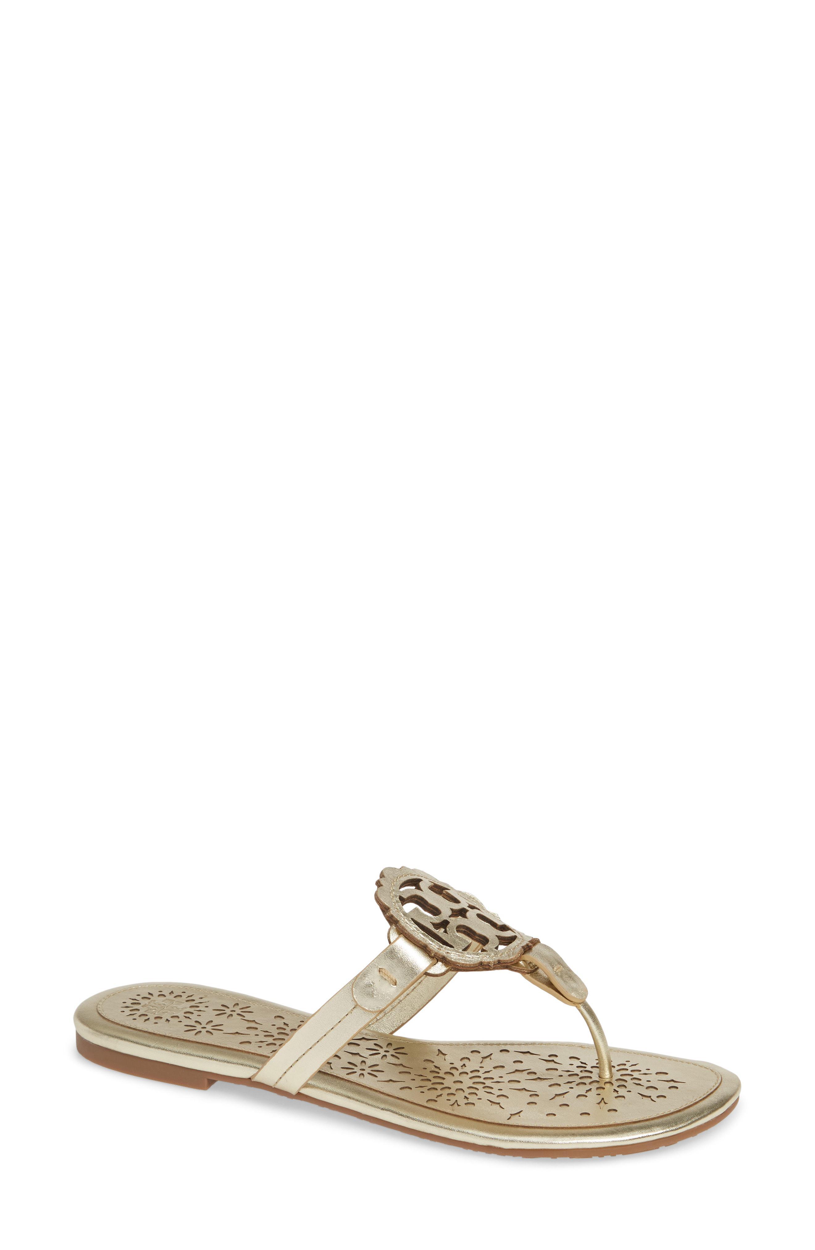 c61aa015c06 Lyst - Tory Burch Miller Scalloped Medallion Sandal in Metallic