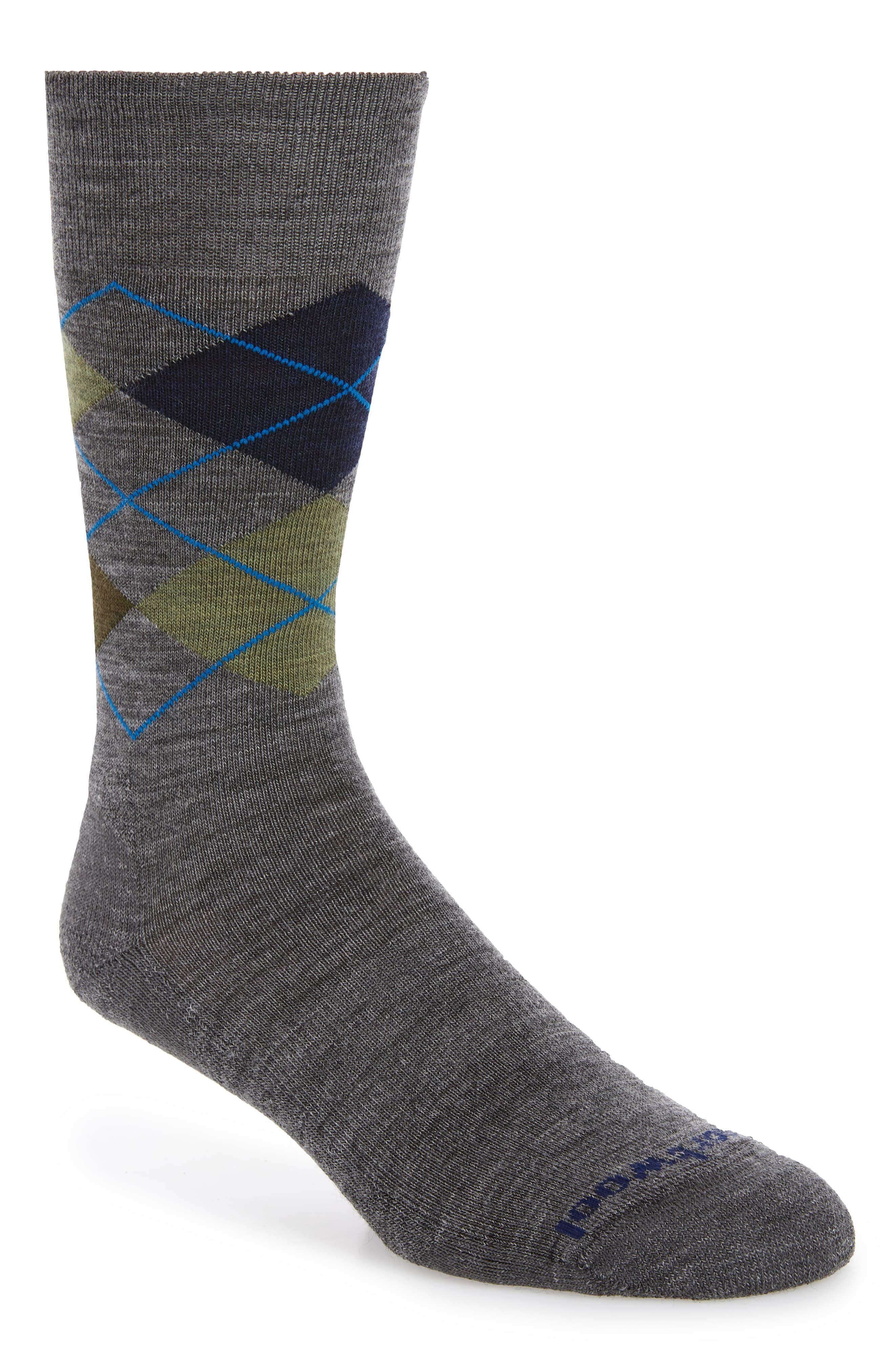 Large Smartwool Mens Diamond Jim Socks Deep Navy Heather//Medium Grey Heather