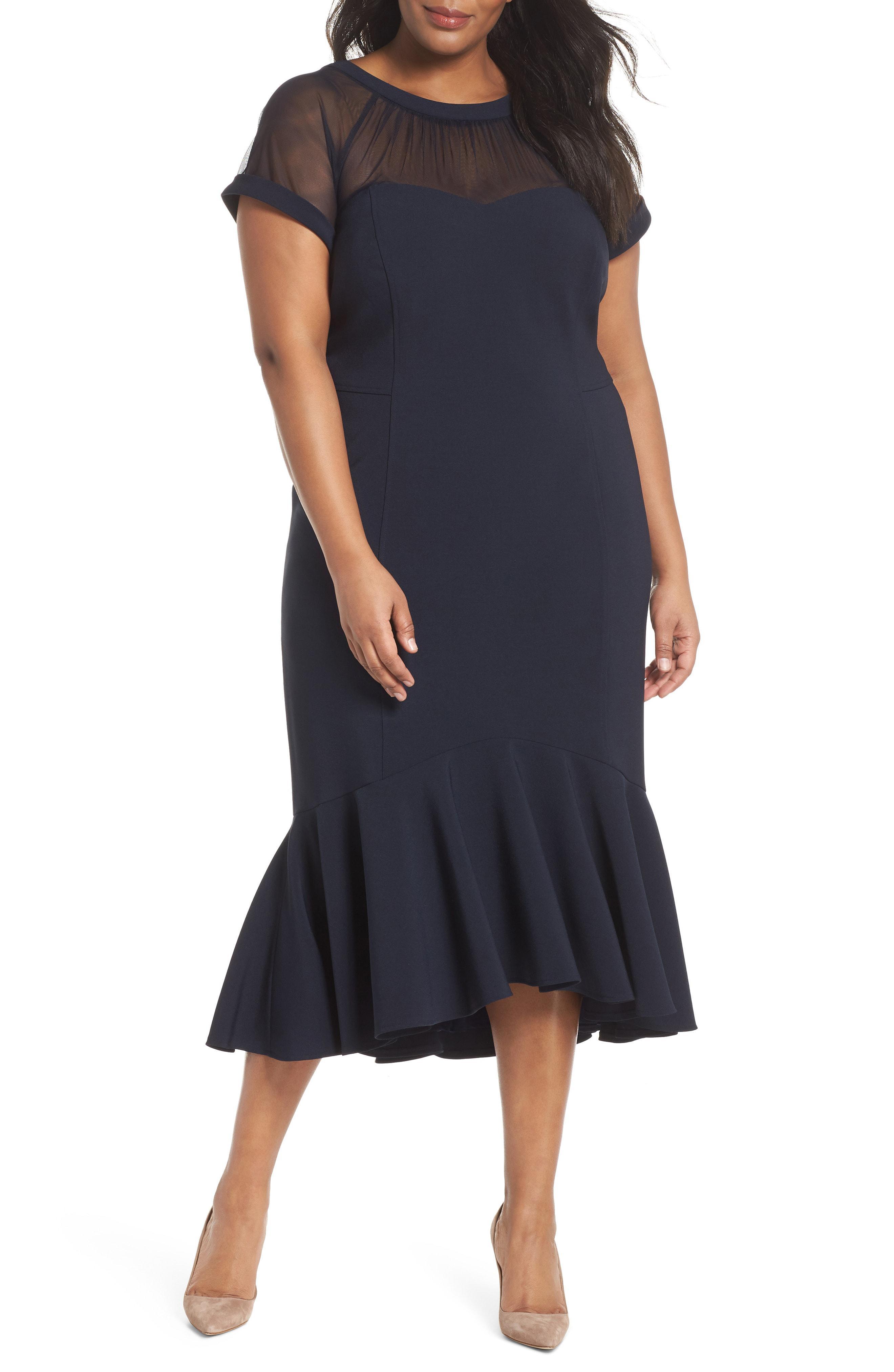 Lyst - Maggy London Illusion Yoke Ruffle Hem Midi Dress in Blue 8387fb851