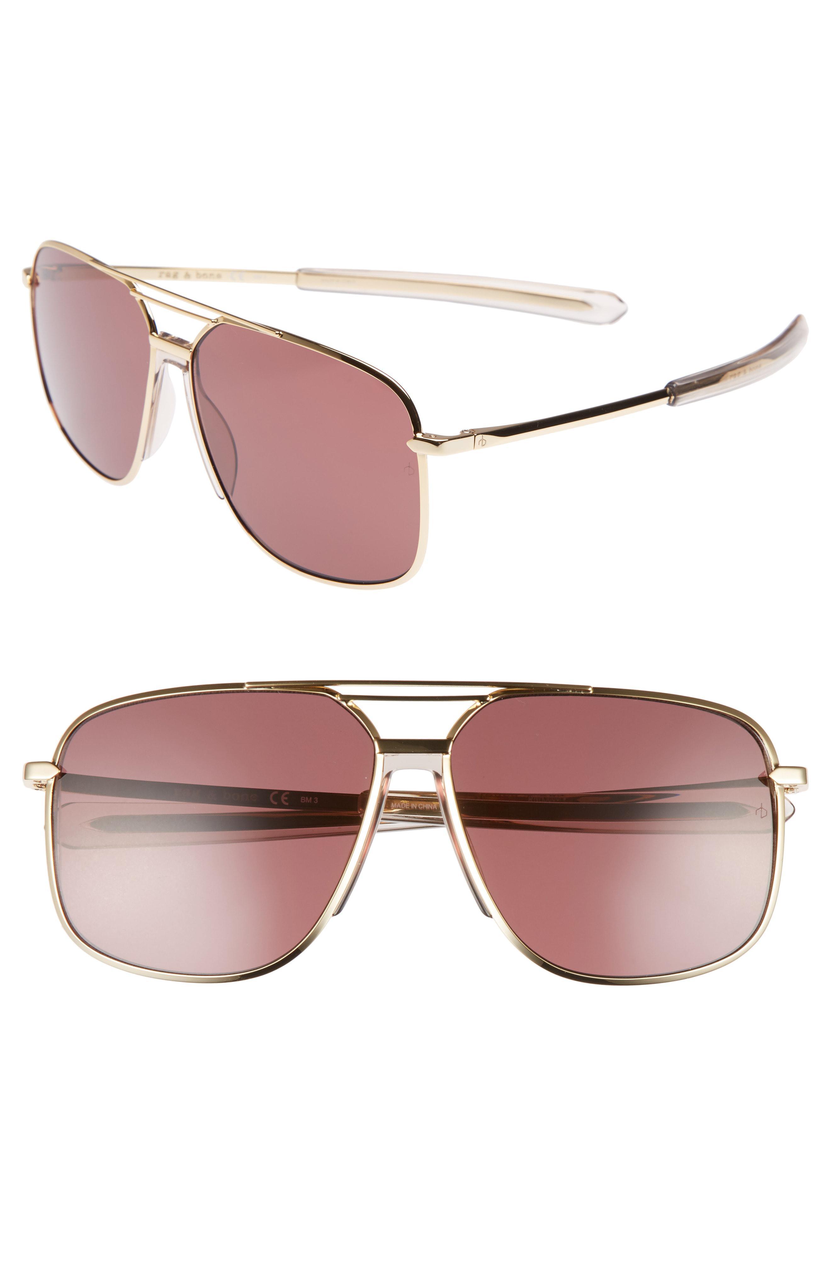 1196730e8096 Lyst - Rag   Bone Caravan 62mm Oversize Aviator Sunglasses - in Brown
