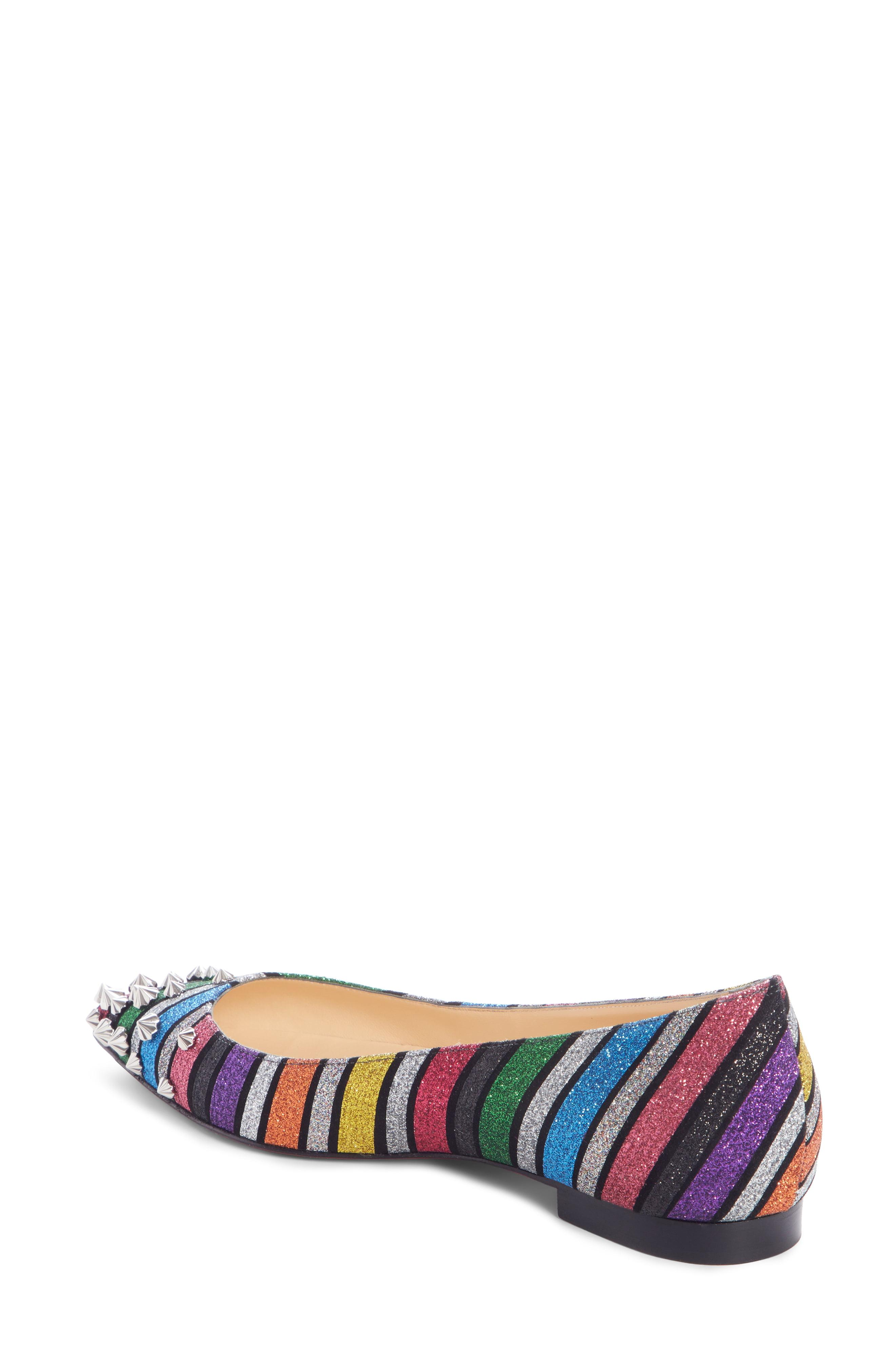 e20706dd0229 Christian Louboutin - Multicolor Drama Striped Studded Flat - Lyst. View  fullscreen