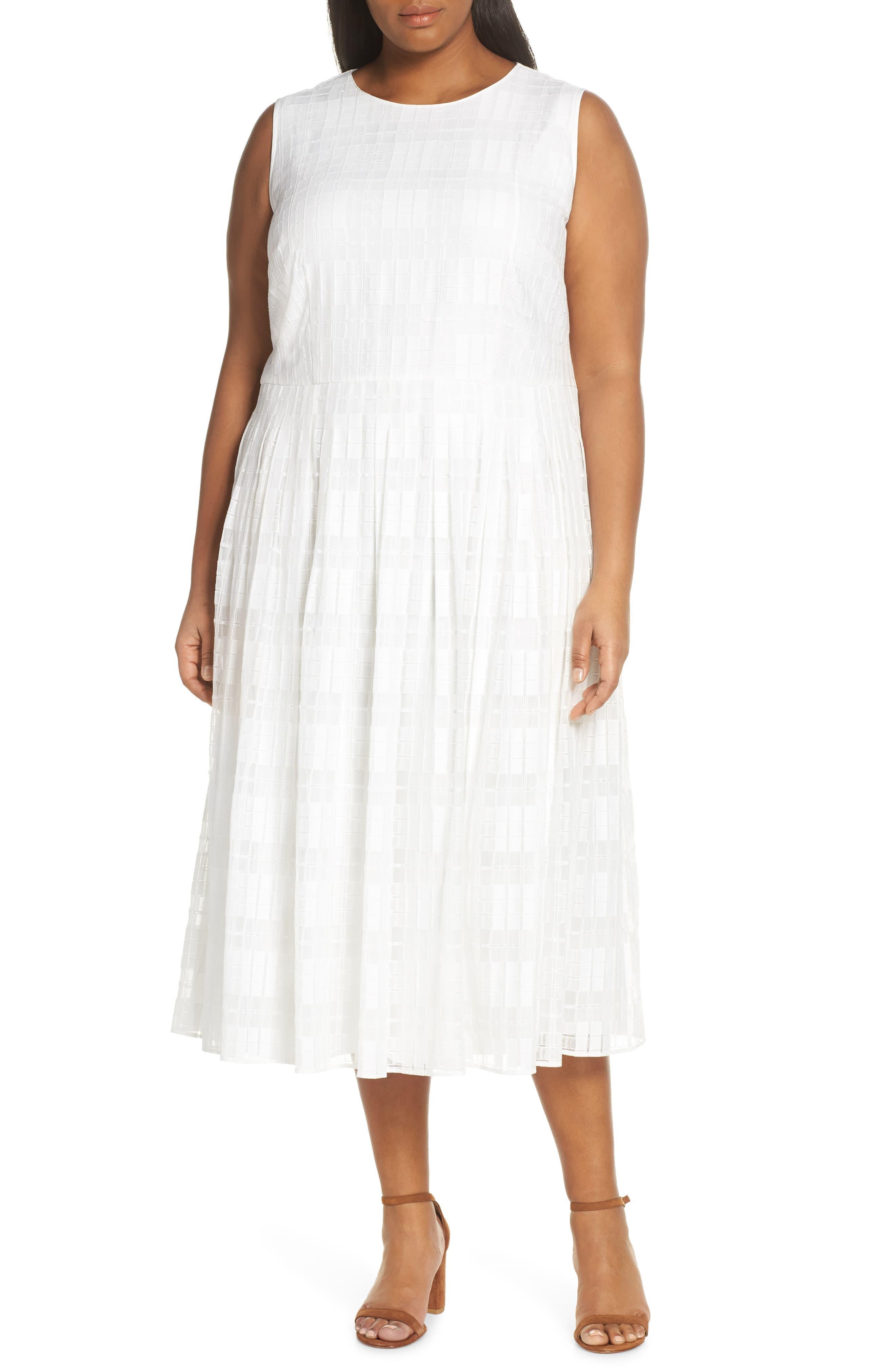 8e7e39ea Lafayette 148 New York Avalynn Sleeveless Midi Dress in White - Lyst