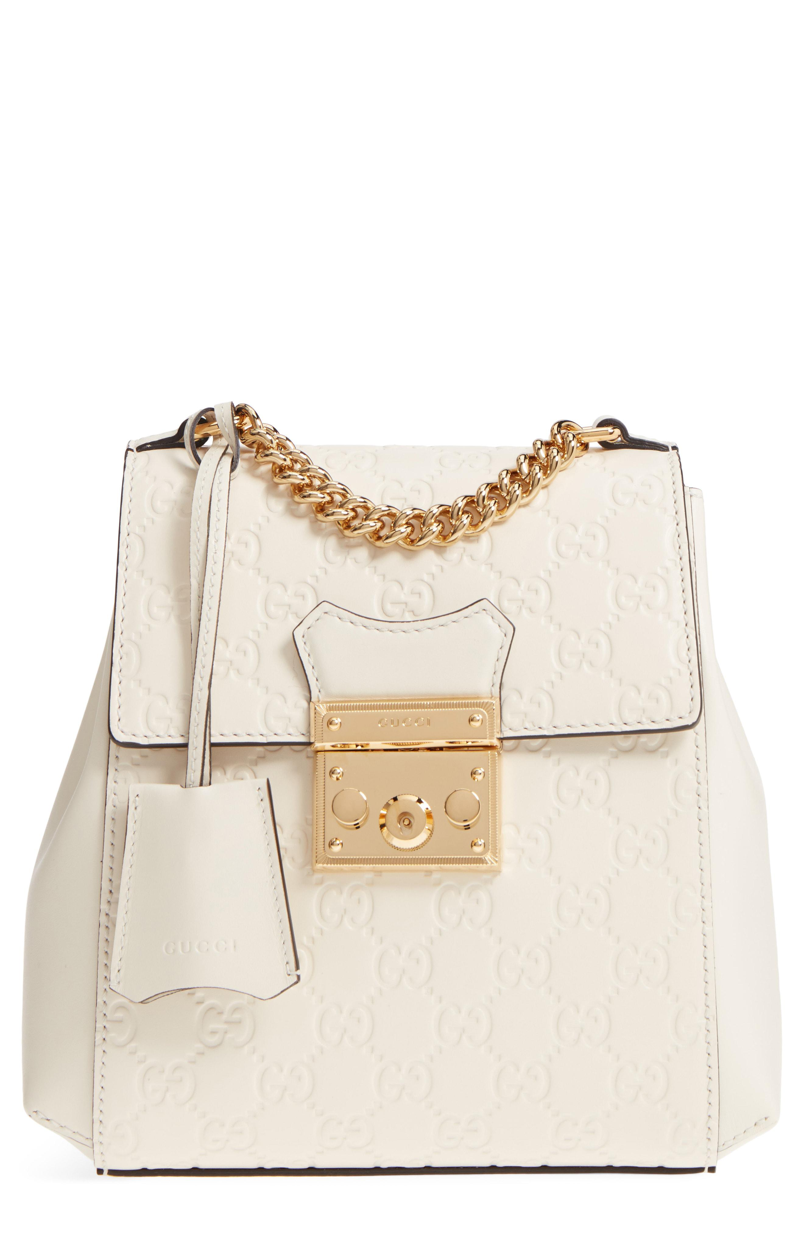 80be5921997 Gucci Gg Supreme Leather Padlock Backpack in White - Lyst