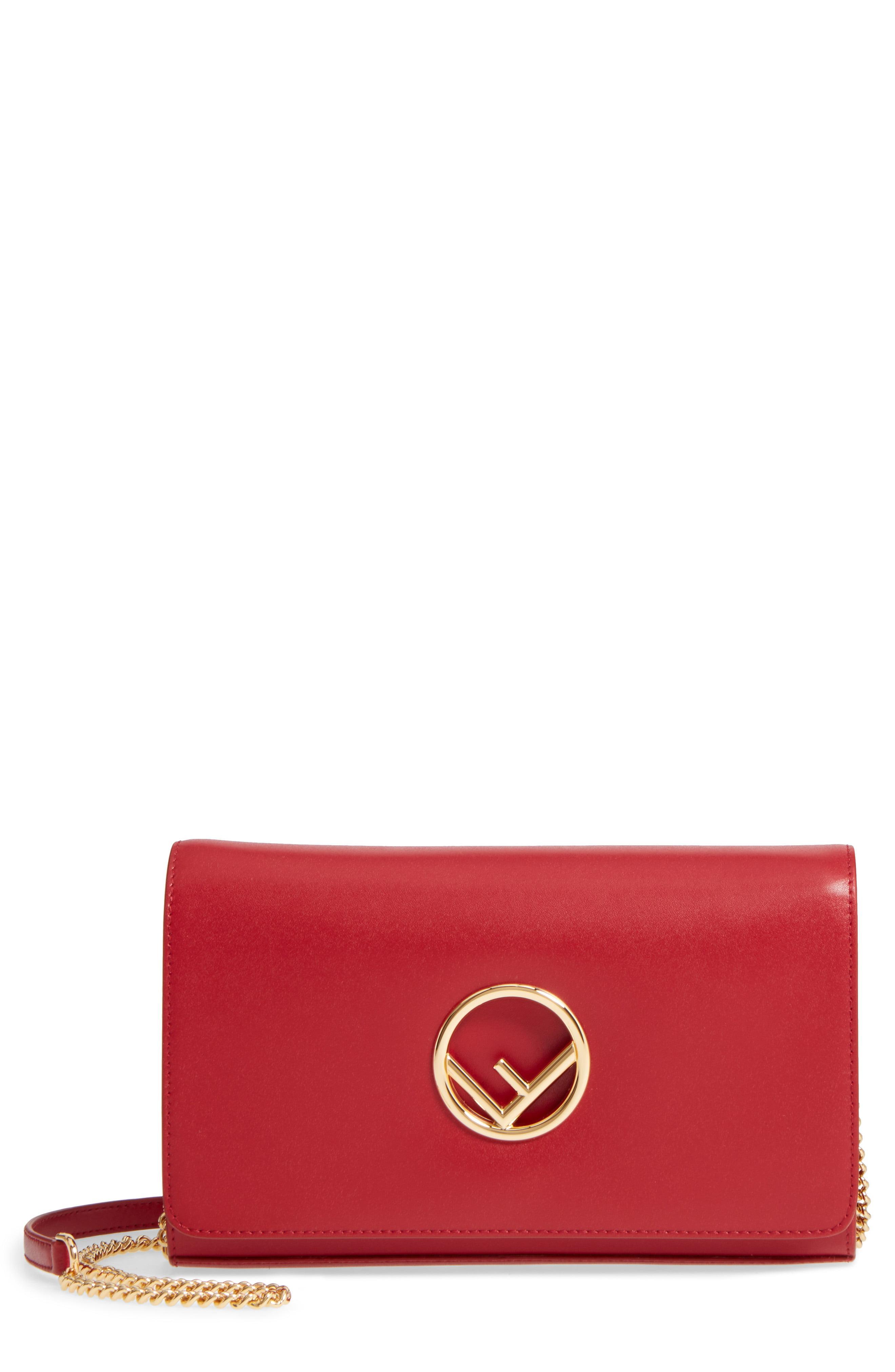 9157e2b55d74 Lyst - Fendi Liberty Logo Calfskin Leather Wallet On A Chain - in ...