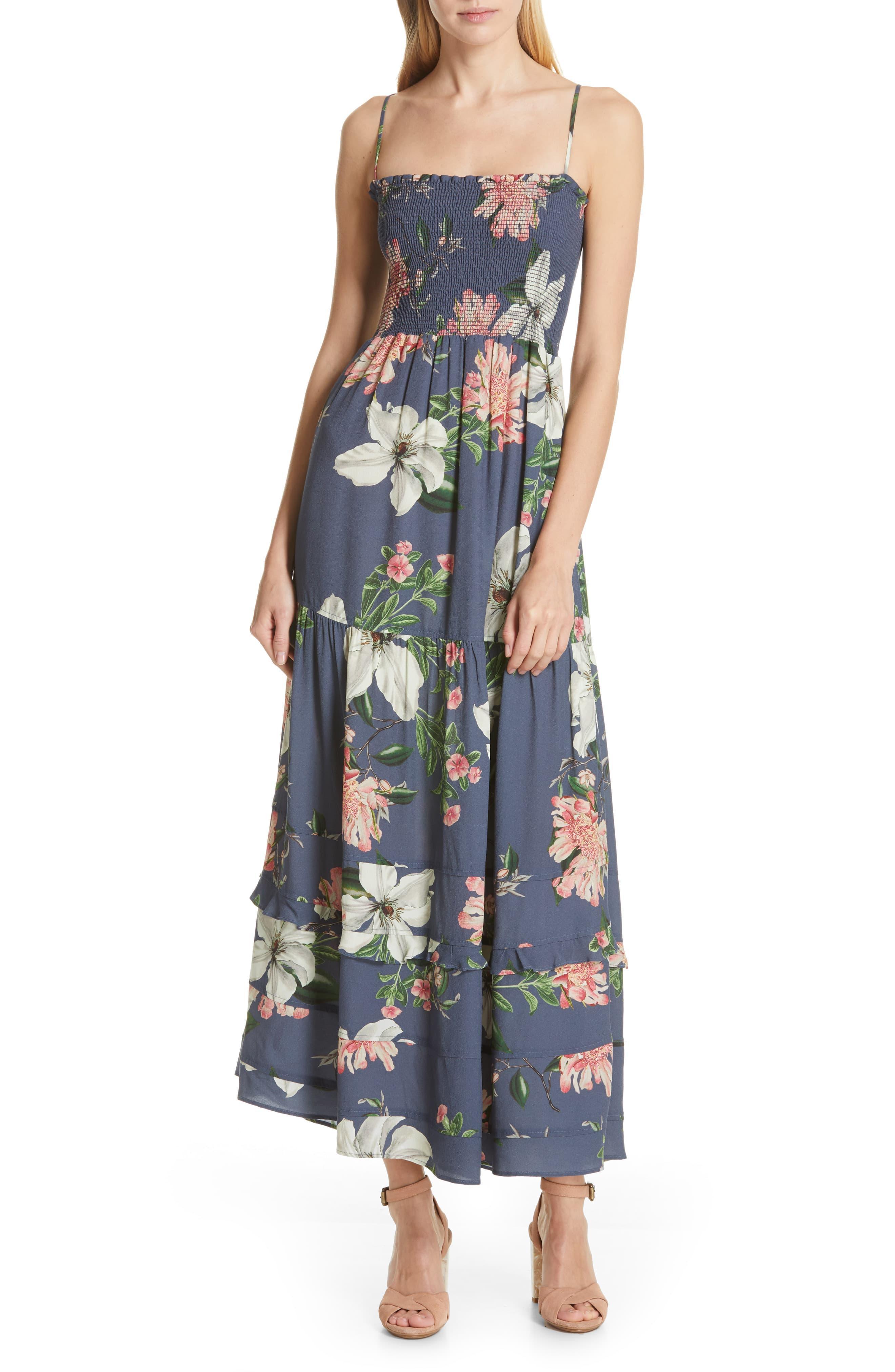 8e08b2a3967 Lyst - Dolan Hazel Smocked Bodice Maxi Sundress in Blue