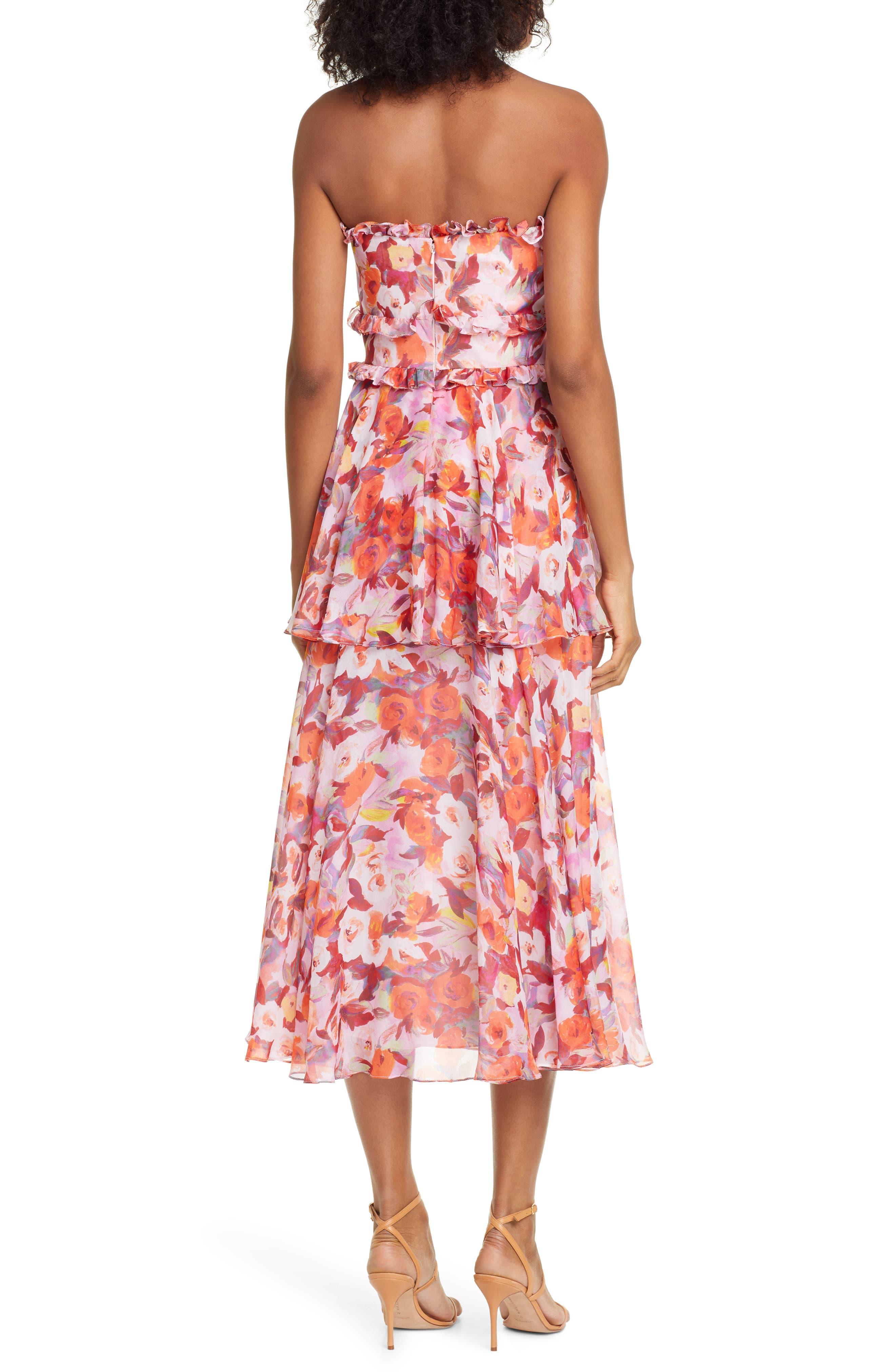 50760c35dd9 AMUR - Pink Darla Floral Print Silk Midi Dress - Lyst. View fullscreen