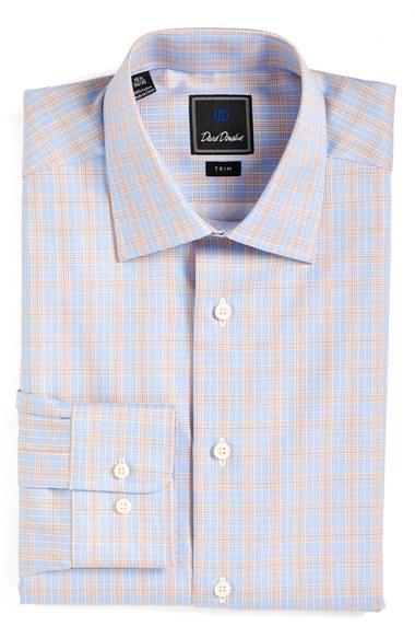 Lyst David Donahue Trim Fit Plaid Dress Shirt In Blue
