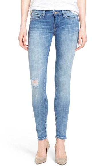 mavi jeans serena distressed stretch skinny jeans in blue. Black Bedroom Furniture Sets. Home Design Ideas