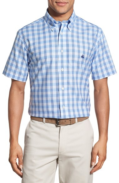 Brooks brothers regent fit short sleeve check sport shirt for Brooks brothers sports shirts