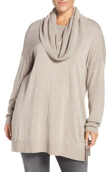 Caslon Caslon Cowl Neck Tunic Sweater in Natural | Lyst