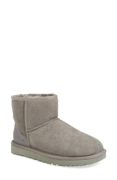 ugg ugg 39 classic mini ii 39 genuine shearling lined boot in gray lyst. Black Bedroom Furniture Sets. Home Design Ideas