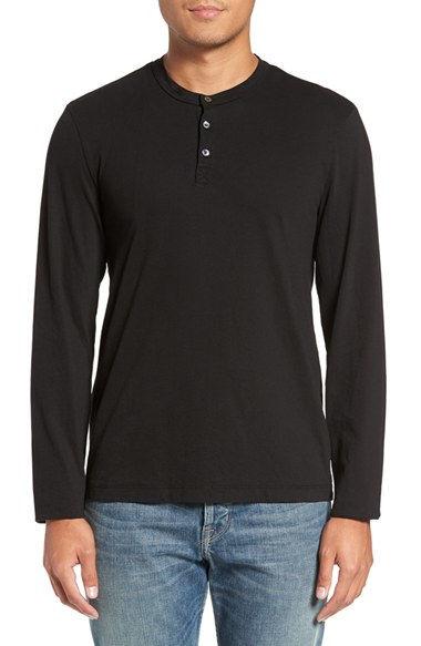 Lyst james perse supima cotton henley in black for men for James perse henley shirt