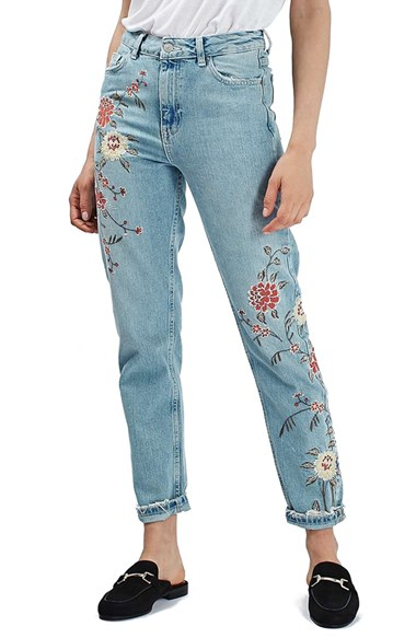 Topshop Mom Floral Embroidered Jeans In Blue  Lyst