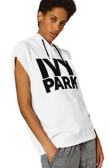 ivy park raw hem peached logo sleeveless hoodie in white. Black Bedroom Furniture Sets. Home Design Ideas