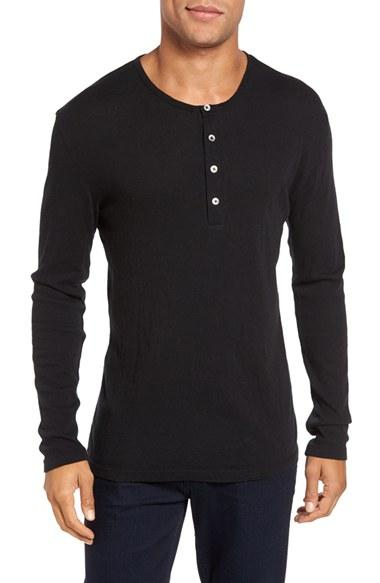 Slate And Stone Clothing : Lyst slate stone cotton cashmere henley in black for men