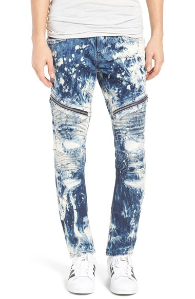 Lyst Rock Revival Skinny Fit Moto Jeans In Blue For Men