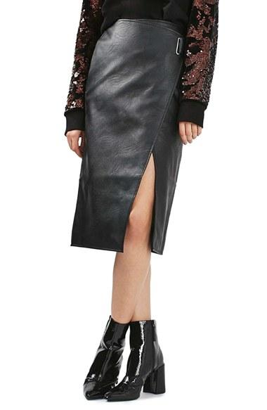 topshop faux leather wrap midi skirt in black lyst