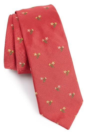 Paul smith embroidered floral bouquet silk tie in pink for