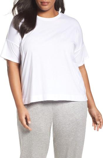 Lyst eileen fisher organic cotton boxy tee in white for Eileen fisher organic cotton t shirt