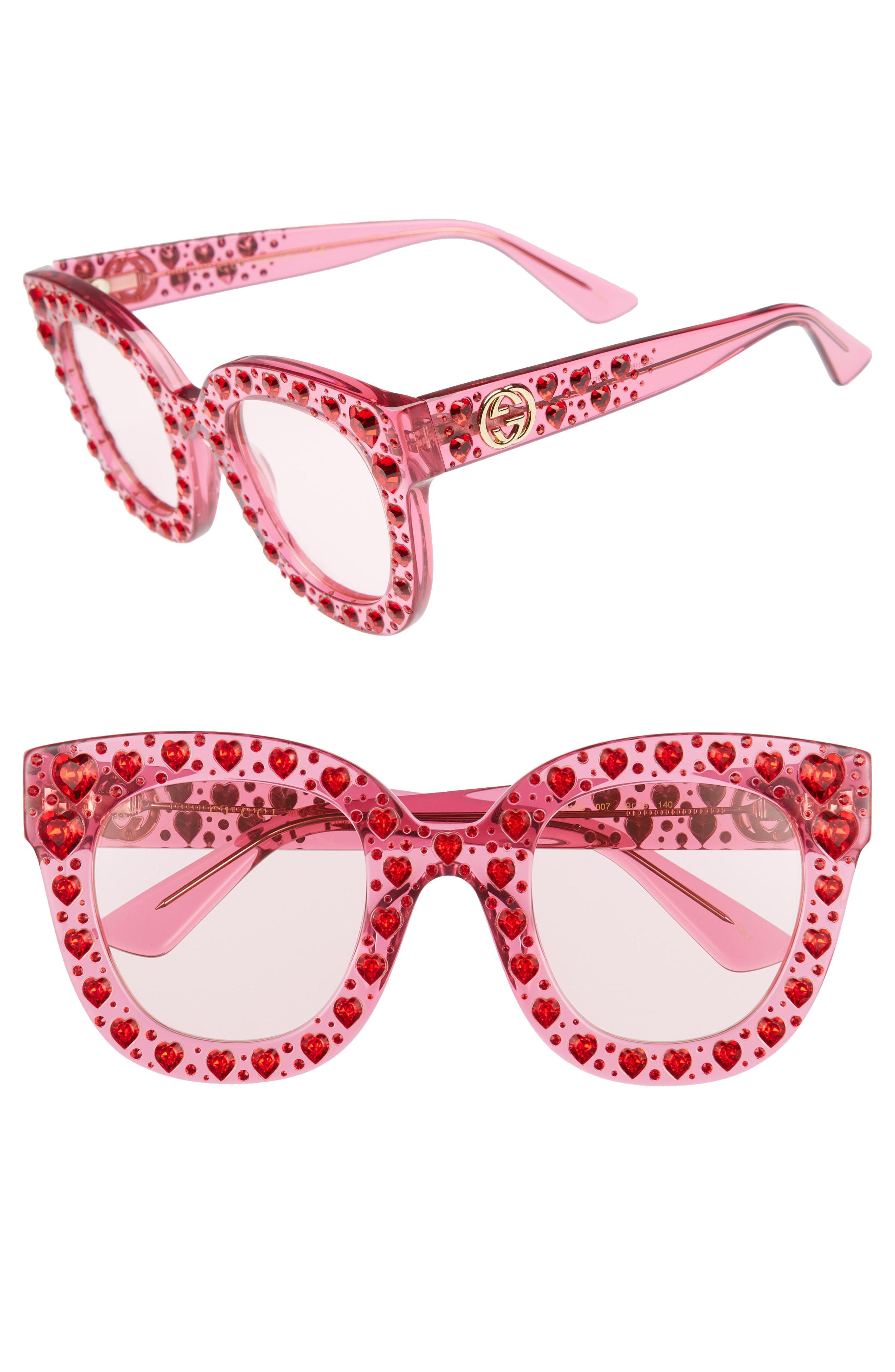 f7671a697c Lyst - Gucci 49mm Crystal Heart Sunglasses - Fuchsia in Pink