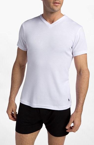 Polo ralph lauren men 39 s big tall v neck t shirt in white for Mens tall v neck t shirts