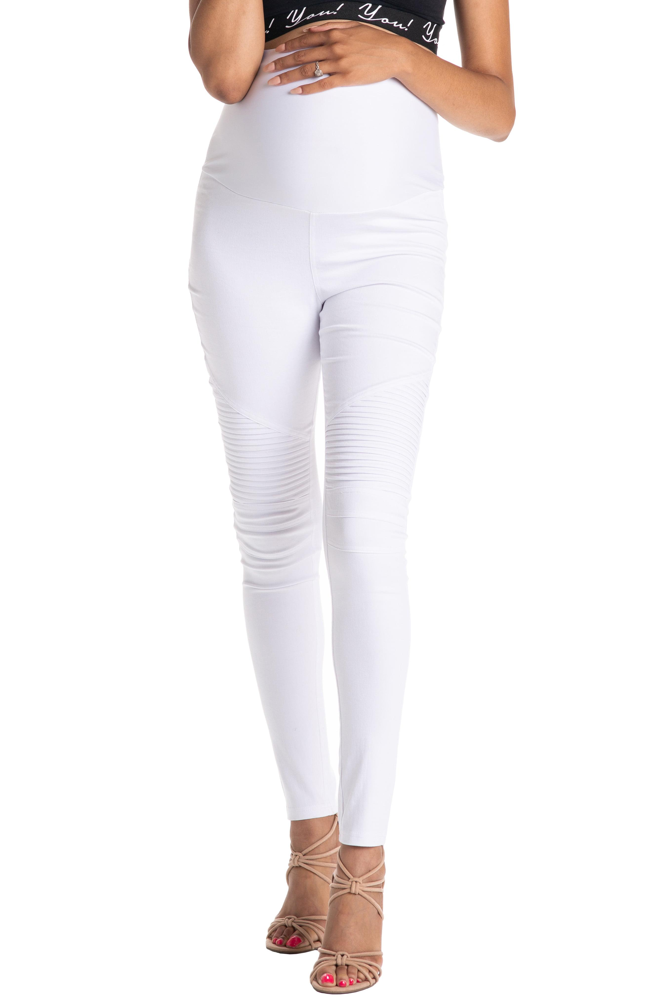 4a5ee48c1b206 Lyst - PREGGO LEGGINGS Moto Maternity Leggings in White