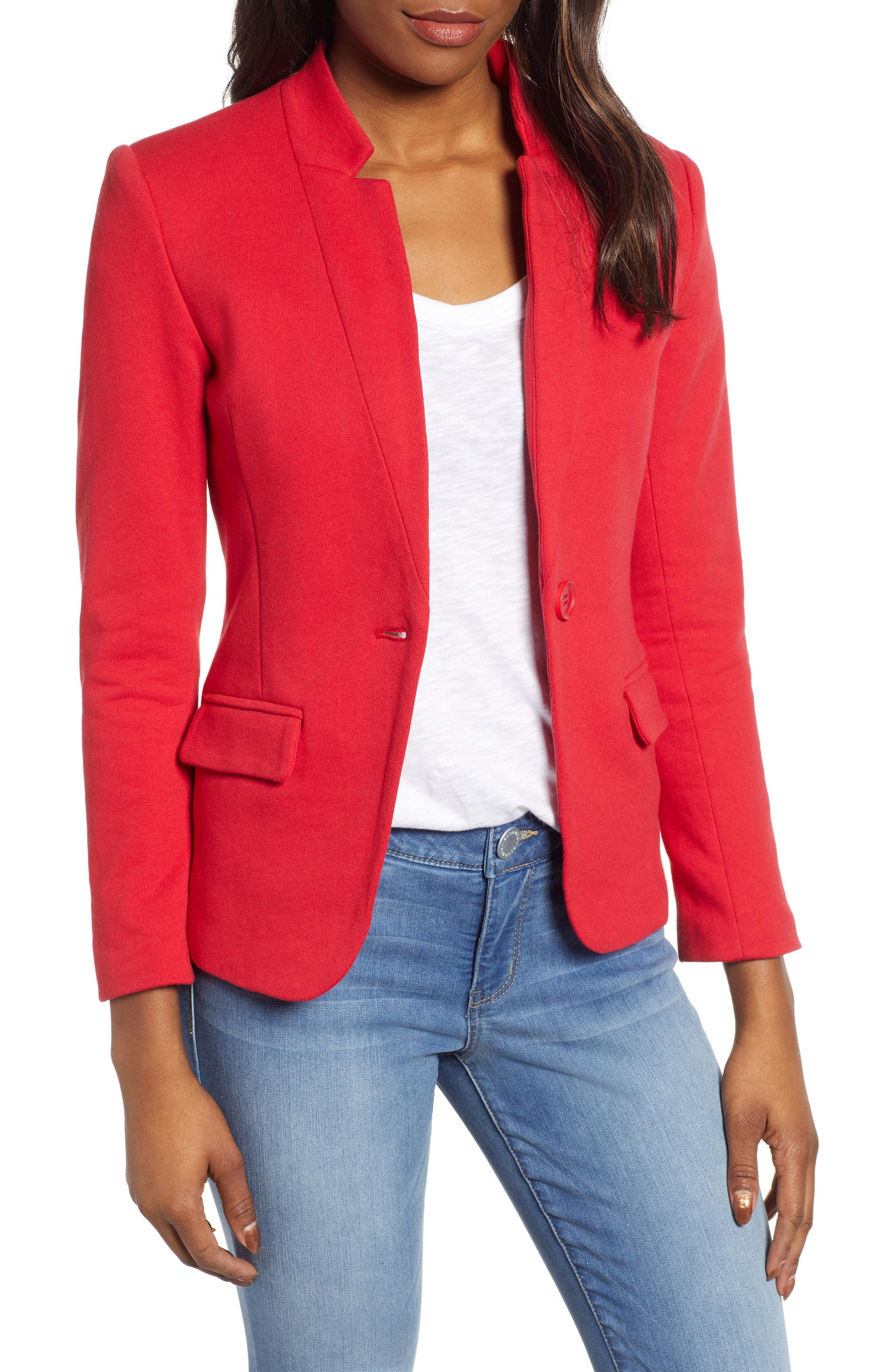 6bccf13e9dc Lyst - Gibson Notch Collar Cotton Blend Blazer in Red