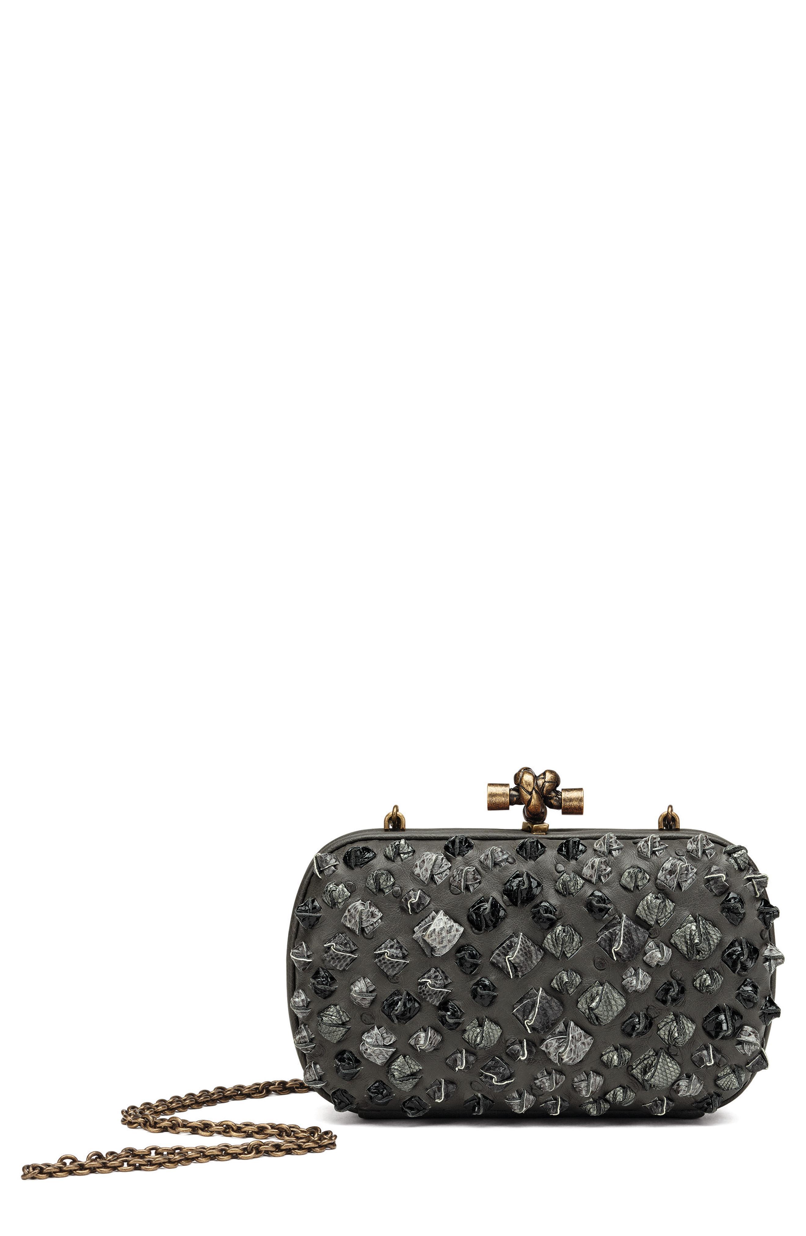 313441b989 Bottega Veneta. Women s Gray Medium Knot Ostrich   Genuine Snakeskin Shoulder  Bag
