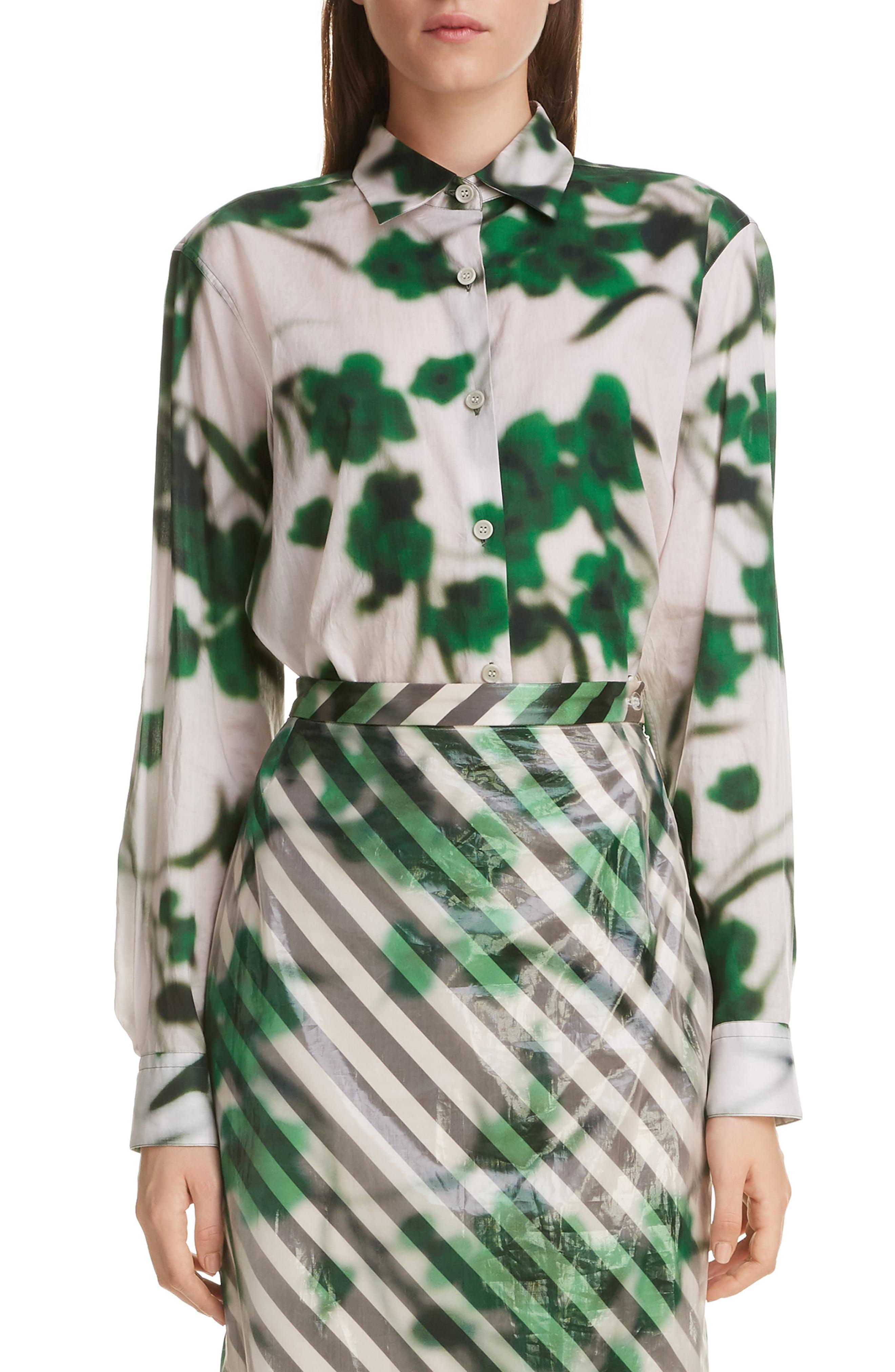 14e887ca223bd Lyst - Dries Van Noten Clavelly Floral Print Cotton Shirt in Green