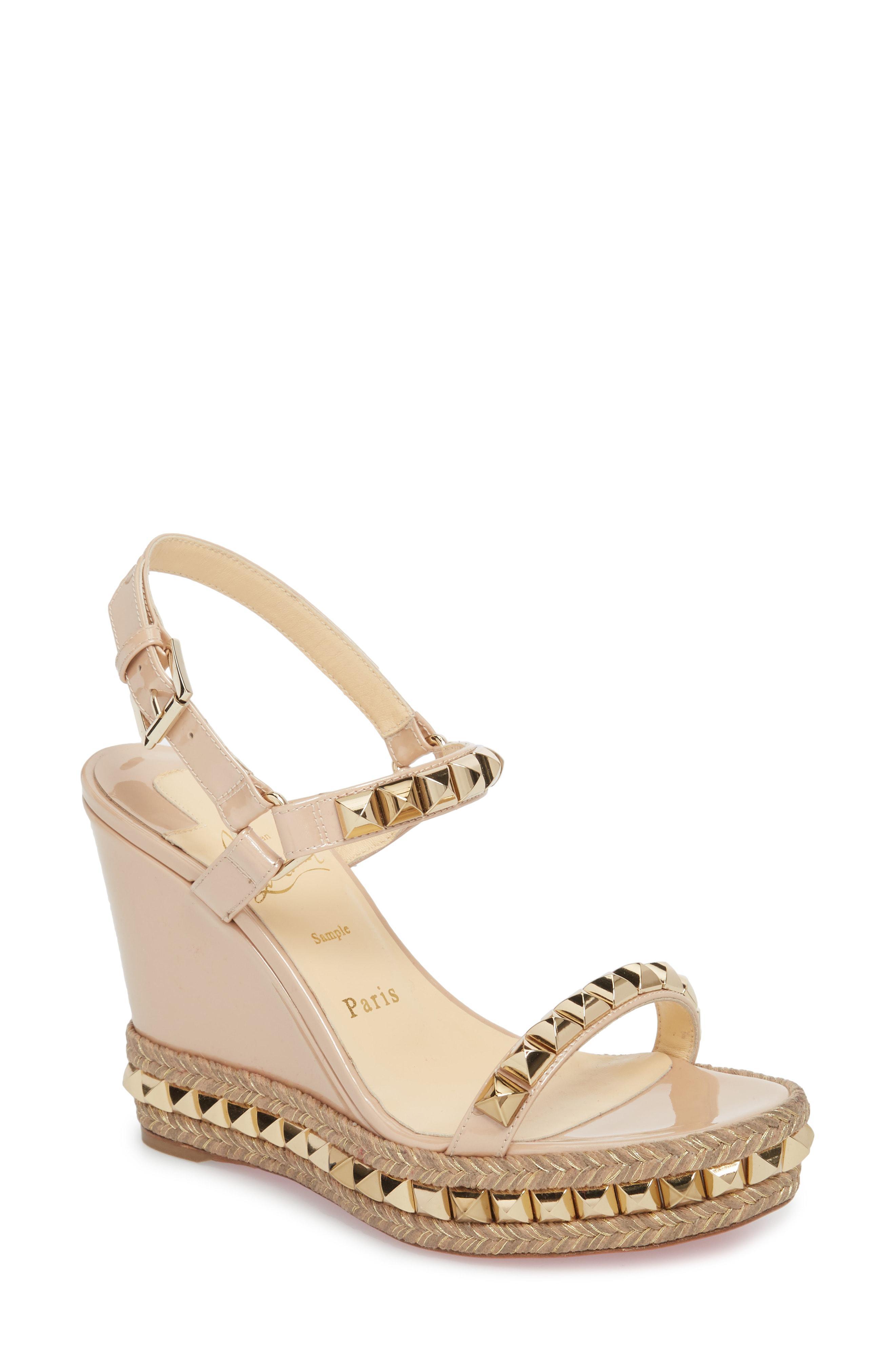 02ef418d6735 Lyst - Christian Louboutin Cataclou Espadrille Wedge Sandal in Metallic