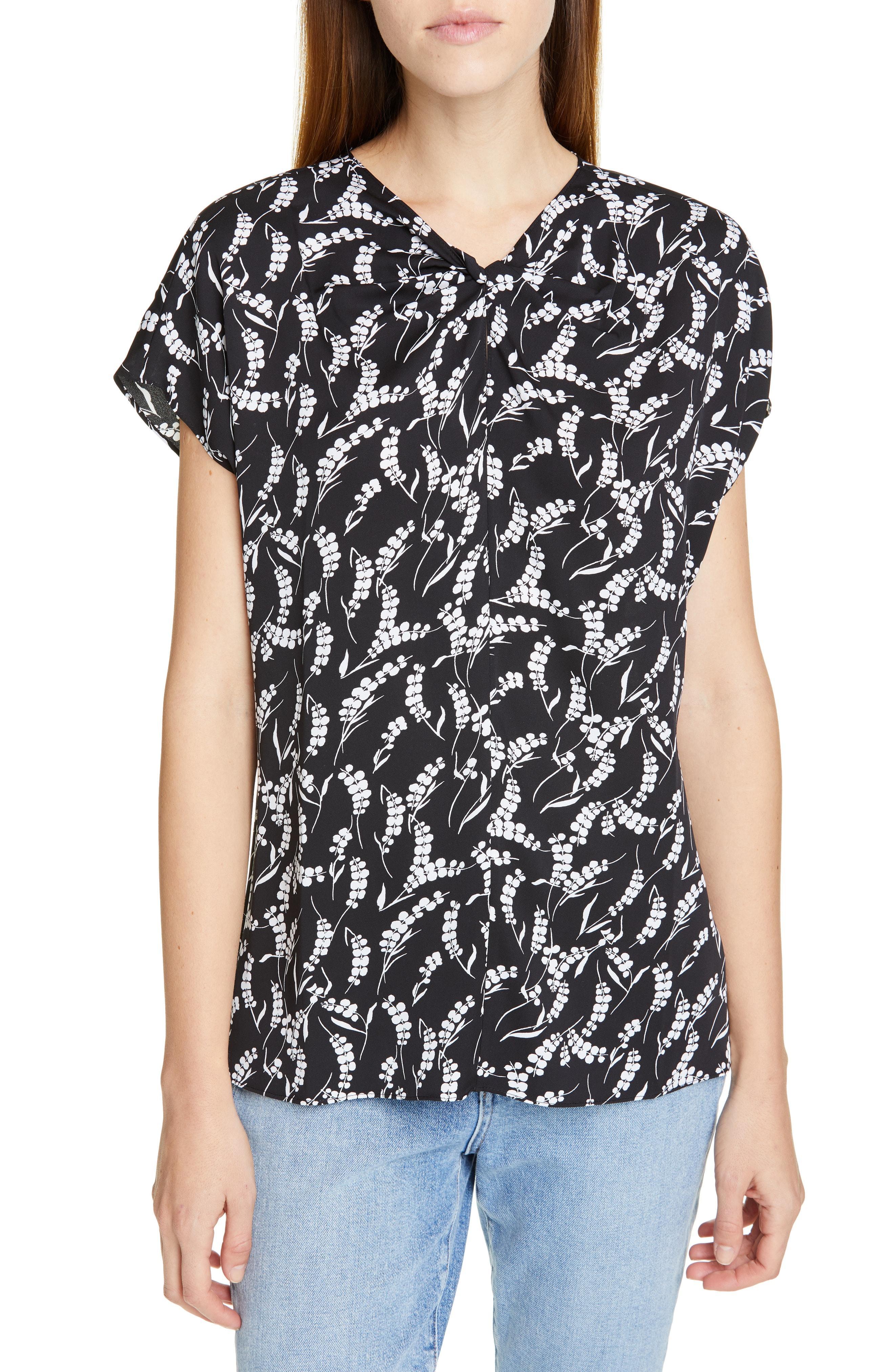 711ae84f1afe64 Lyst - LEWIT Print Twist Neck Top in Black